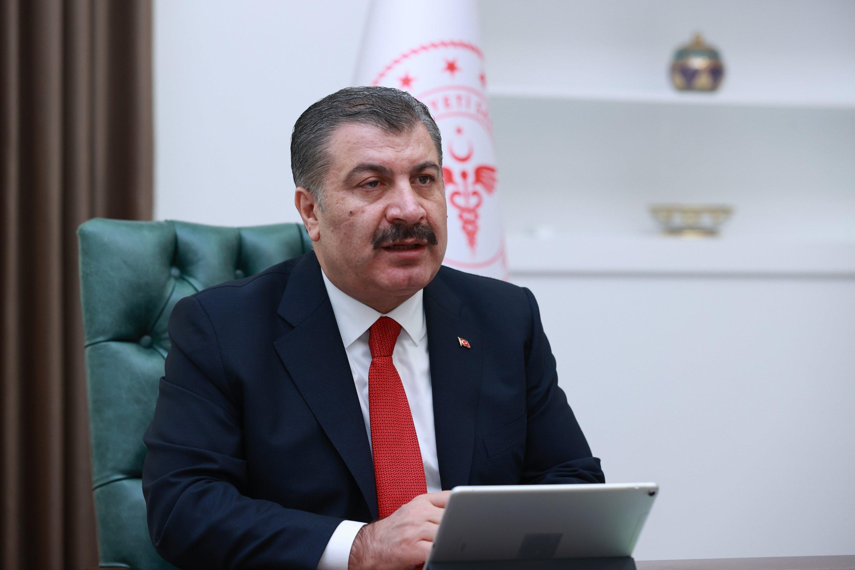 Health Minister Fahrettin Koca speaks at a meeting in Ankara, Turkey, Aug. 3, 2021. (İHA Photo)