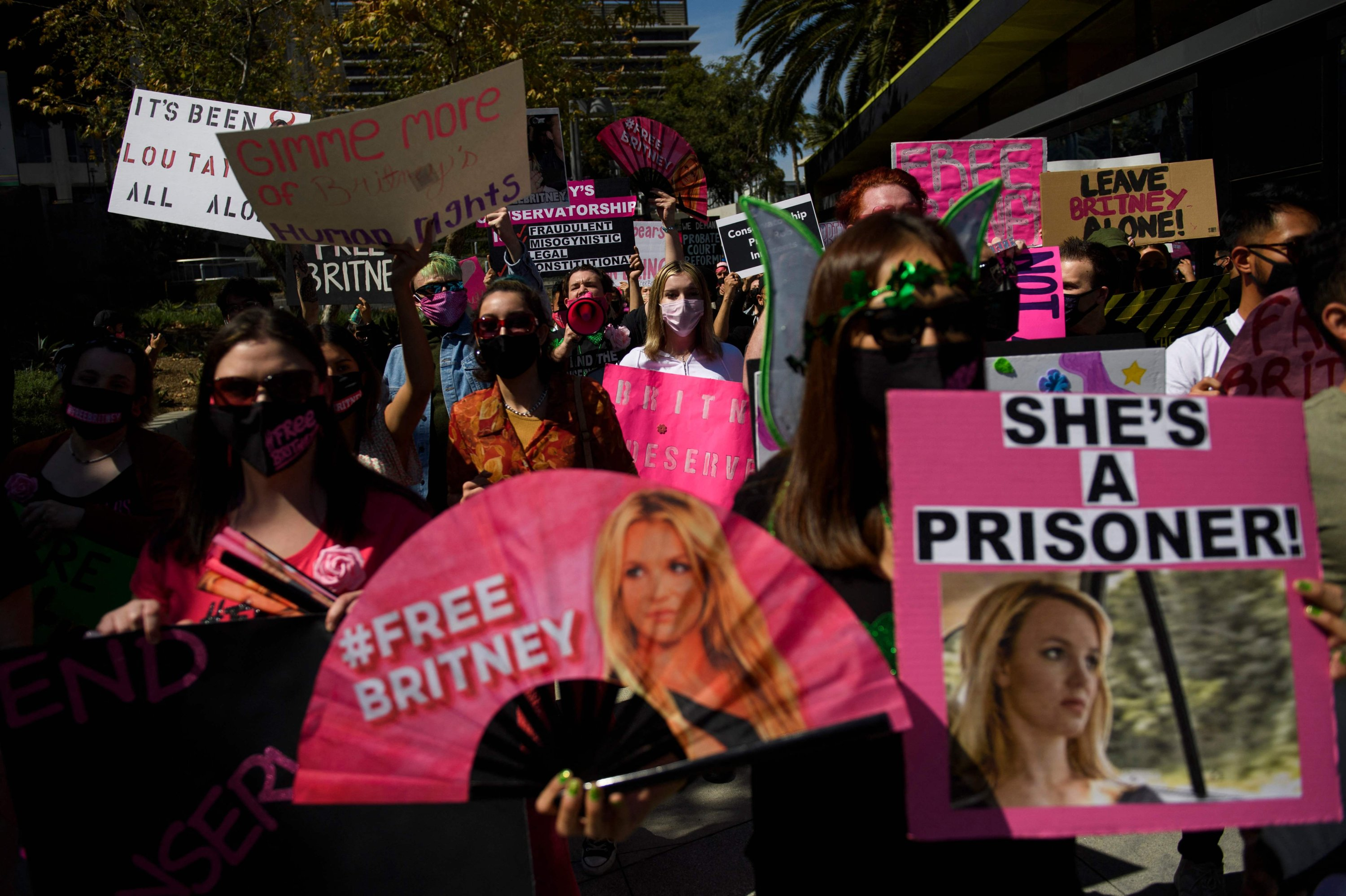 In this file photo, supporters of the FreeBritney movement rally in support of musician Britney Spears following a conservatorship court hearing in Los Angeles, California, March 17, 2021. (AFP Photo)