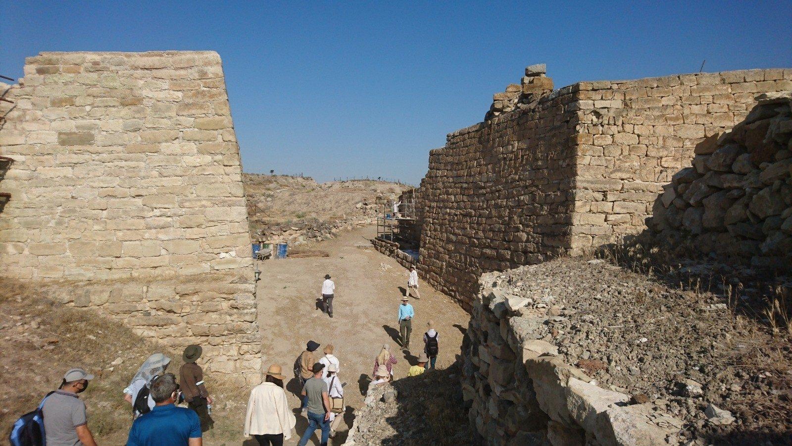 The ICOMOS committee examines the ancient city of Gordion, Ankara, Turkey, Aug. 12, 2021. (AA Photo)