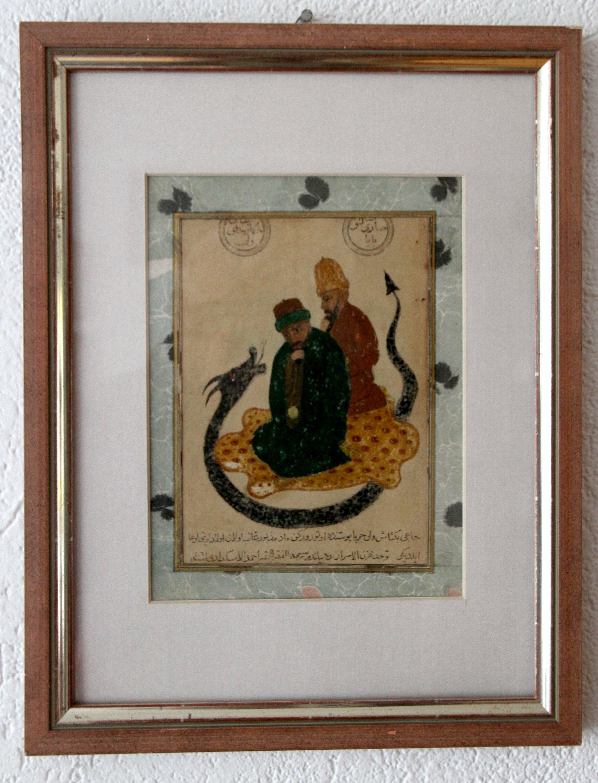A painting depicting Haji Bektash Veli (L) with the 13th-century dervish Sarı Saltuk Baba. (AA Photo)