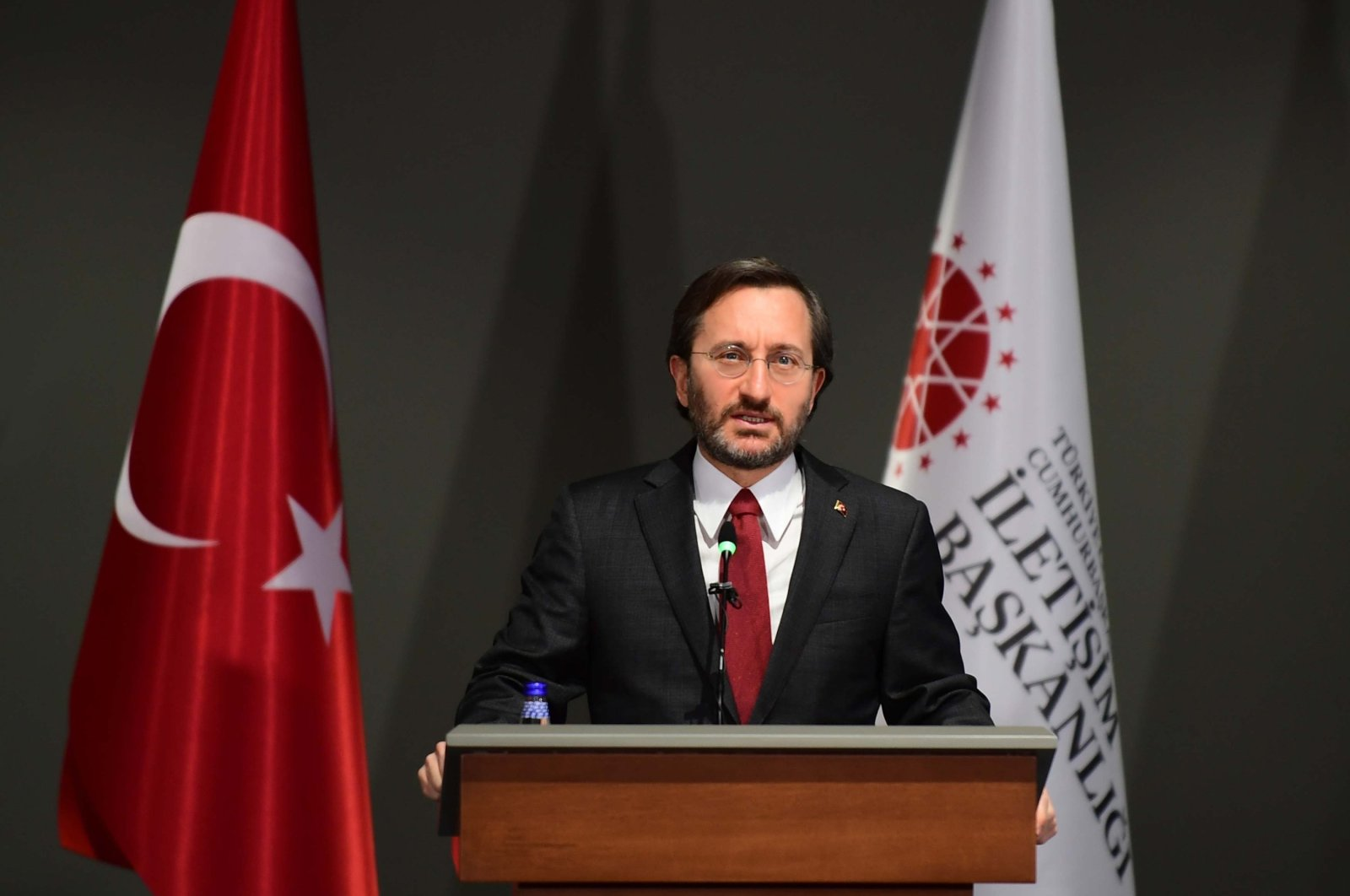 Presidential Communications Director Fahrettin Altun speaks to reporters at the Presidential Complex, in the capital Ankara, Turkey, Feb. 1, 2021. (DHA Photo)
