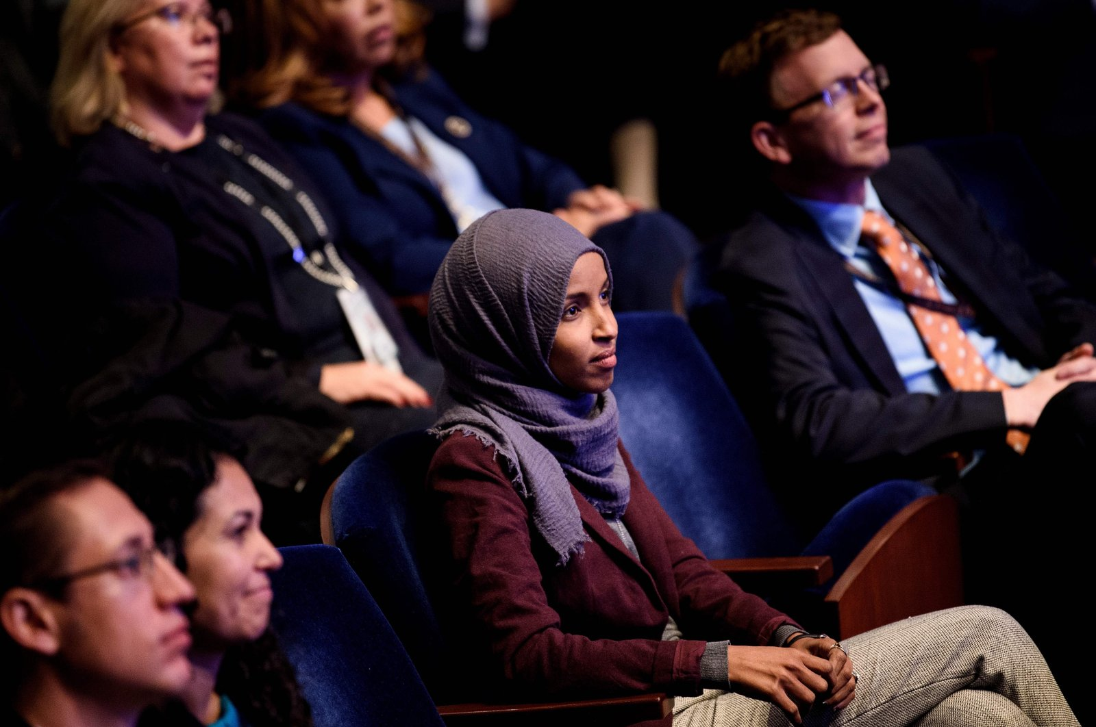 U.S. Rep. Ilhan Omar and others attend a House of Representatives member-elect welcome briefing on Capitol Hill, Washington, D.C., U.S., Nov. 15, 2018. (AFP Photo)