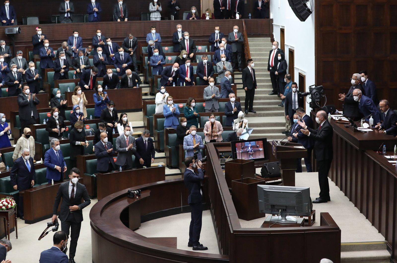 President Recep Tayyip Erdoğan addresses members of the ruling Justice and Development Party (AK Party), Ankara, Turkey, June 9, 2021. (Photo by Ali Ekeyılmaz)