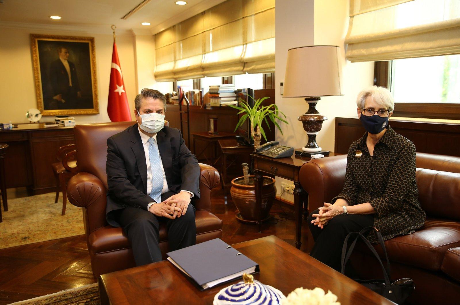 Turkey Deputy Foreign Minister Sedat Önal (L) and U.S. Deputy Secretary of State Wendy Sherman sit during discussions in Ankara, Turkey, May 27, 2021. (AA Photo)