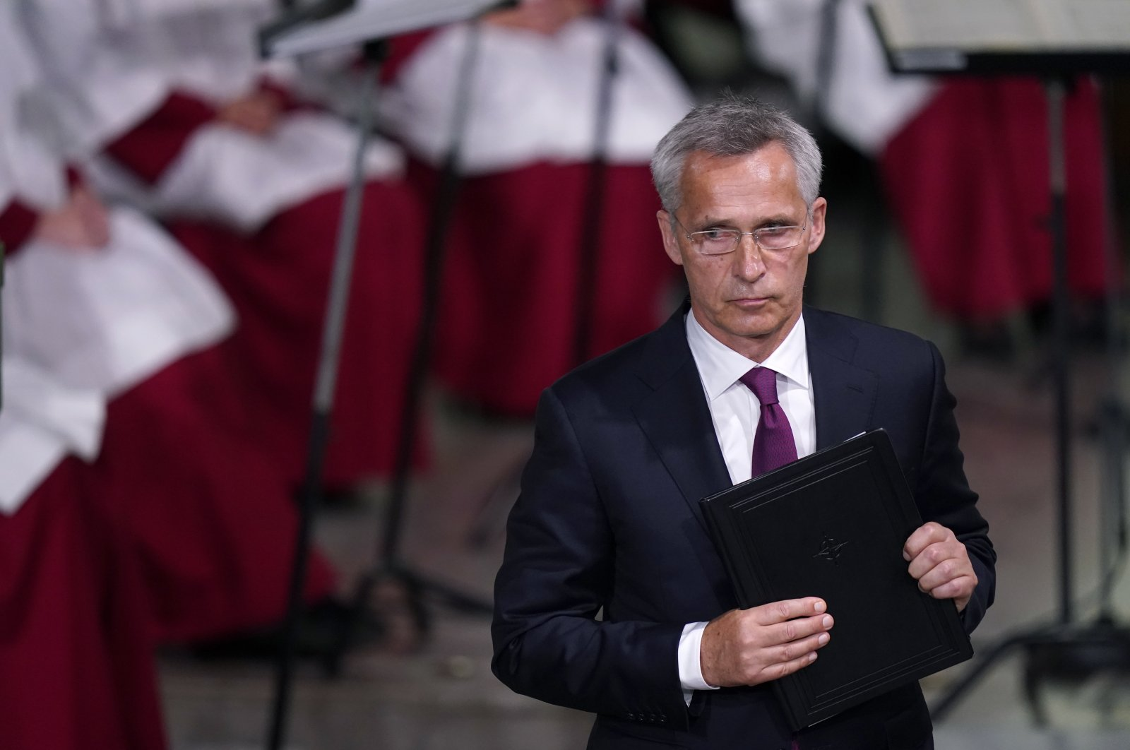 NATO Secretary-General Jens Stoltenberg looks on after delivering his speech during the memorial service at Oslo Cathedral, on the 10-year anniversary of the terrorist attack by Anders Breivik, in Oslo, Norway, July 22, 2021. (NTB scanpix via AP)