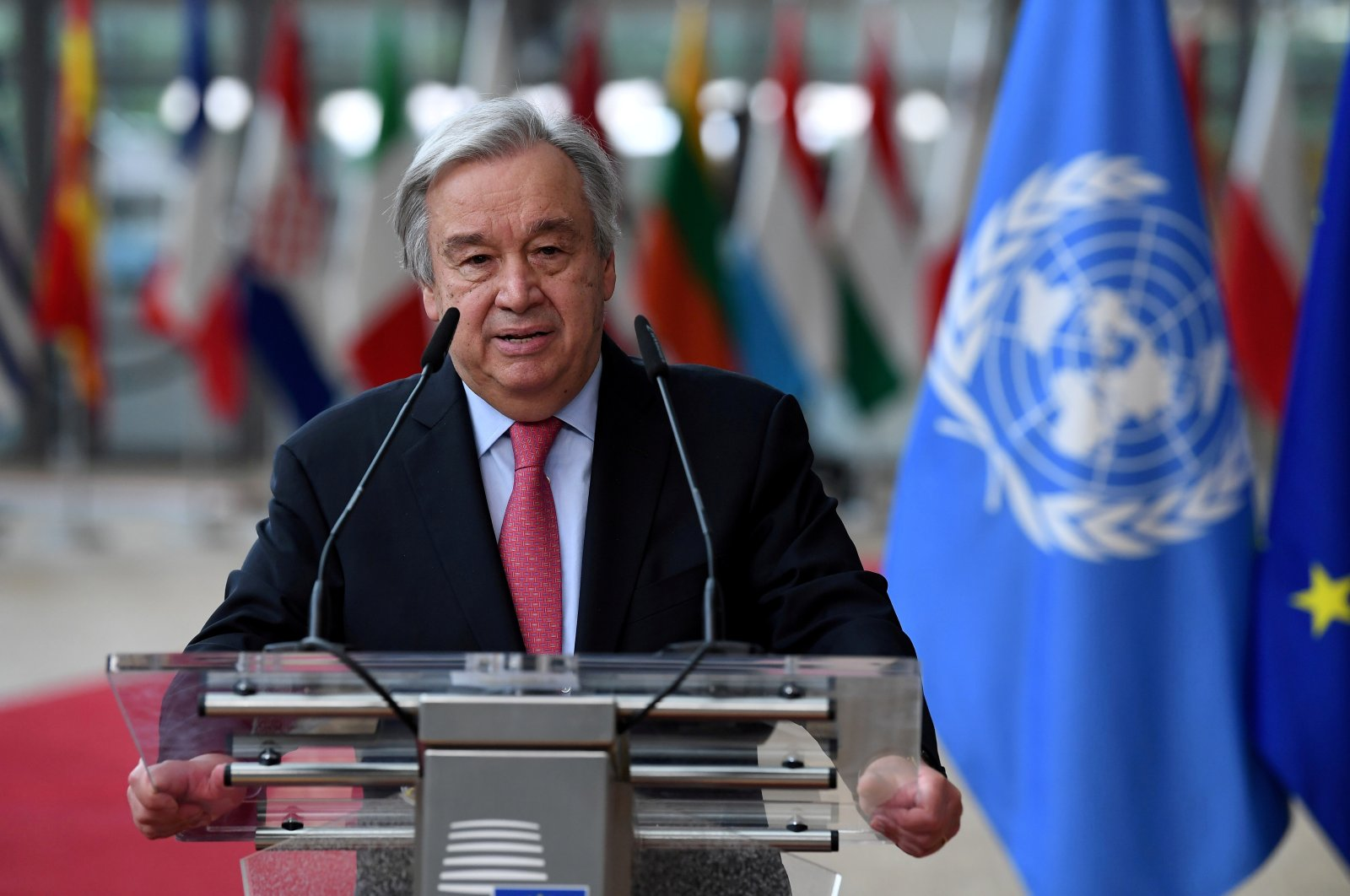 Secretary-General of the U.N. Antonio Guterres addresses the media as he arrives on the first day of the European Union summit at the European Council Building in Brussels, Belgium, June 24, 2021. (REUTERS Photo)