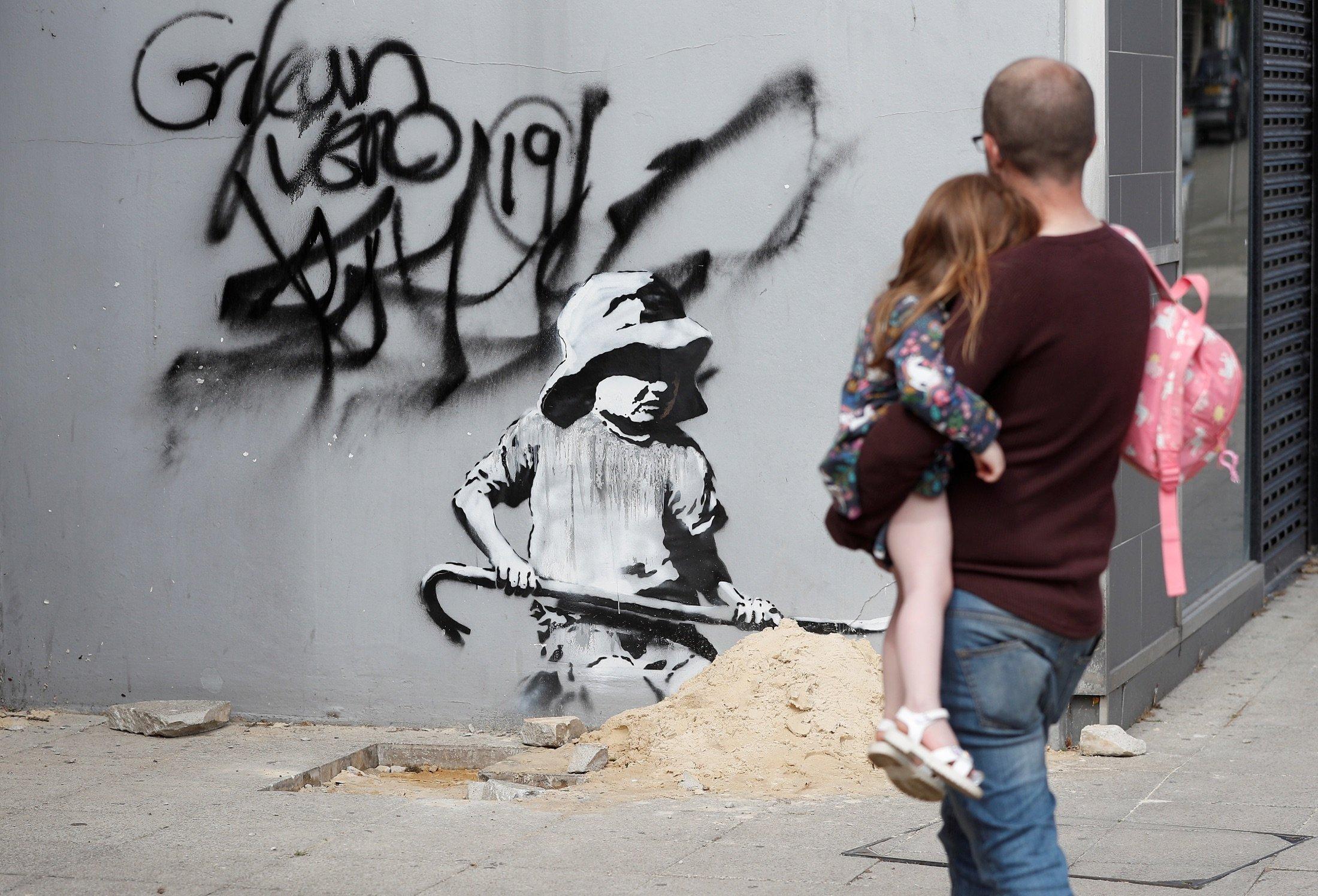 Artwork created by Banksy is seen in Lowestoft, U.K., Aug. 8, 2021. (Reuters Photo)