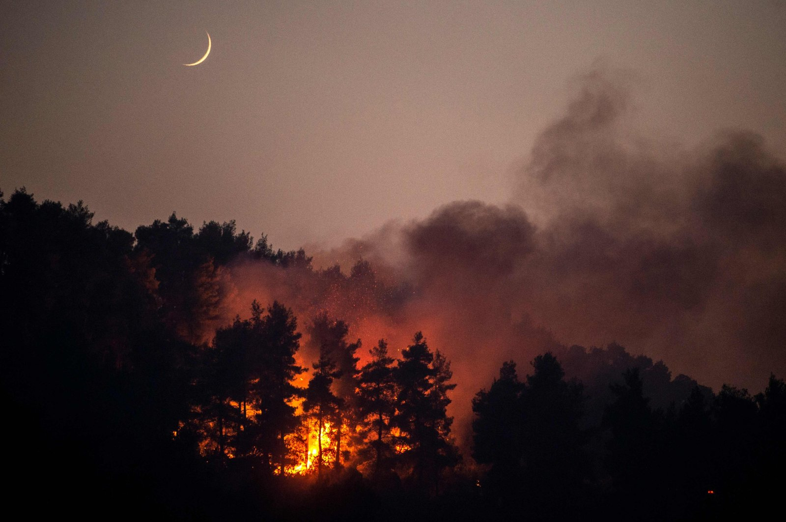 This photograph shows a forest fire in the village of Gouves on Evia (Euboea) island, on Aug. 10, 2021. (AFP Photo)