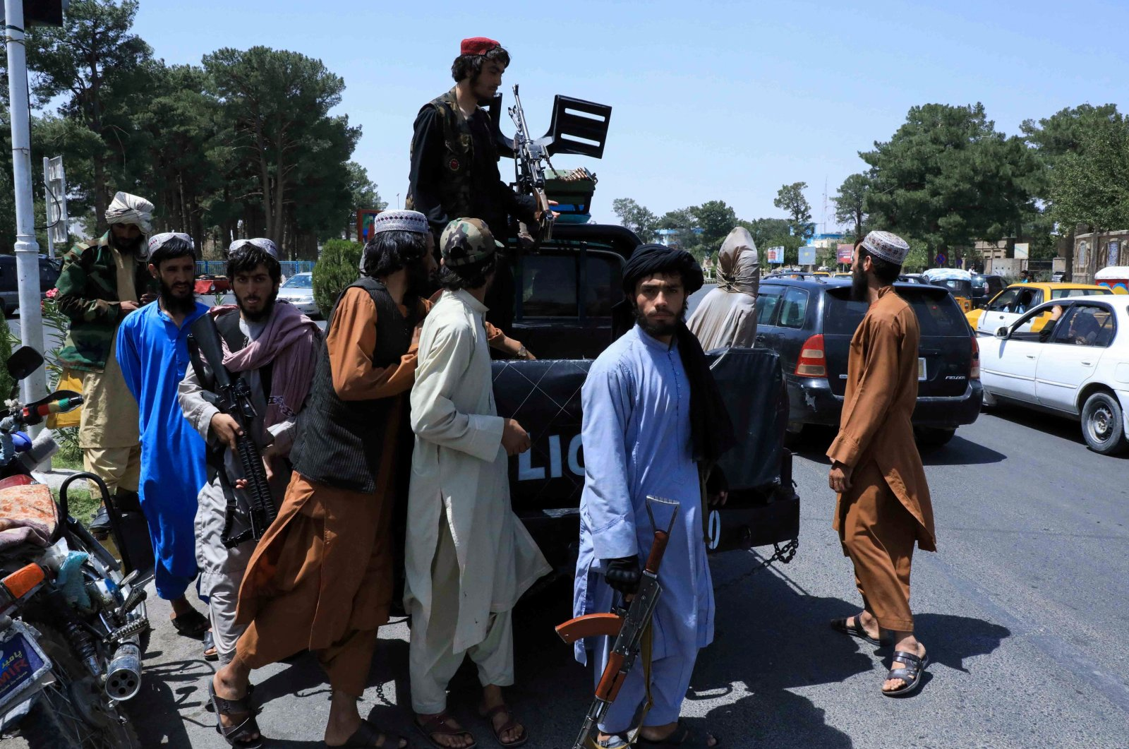 Taliban forces patrol a street in Herat, Afghanistan, Aug. 14, 2021. (Reuters Photo)