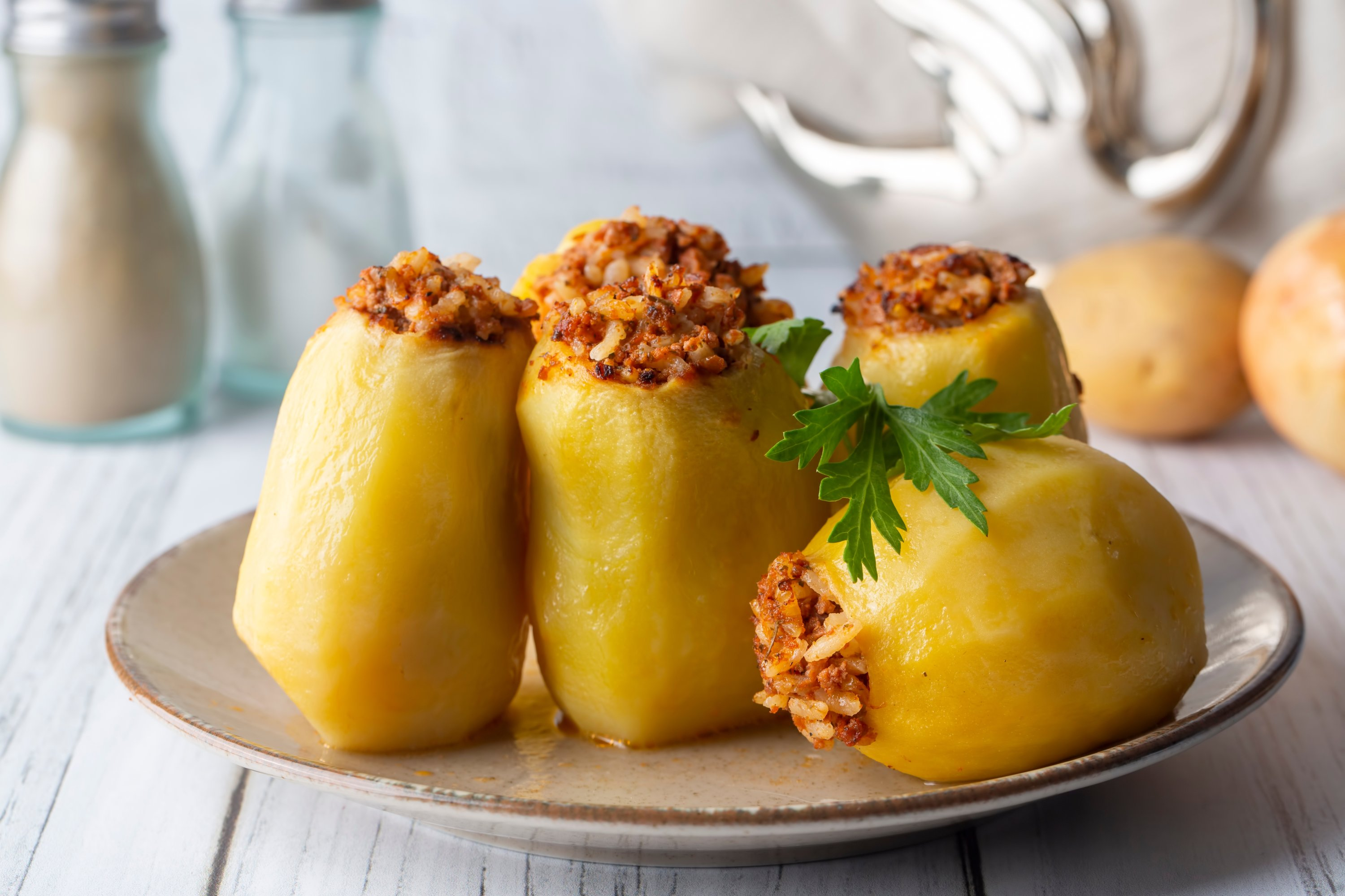 A traditional, delicious Turkish food: stuffed potatoes. (Shutterstock Photo)