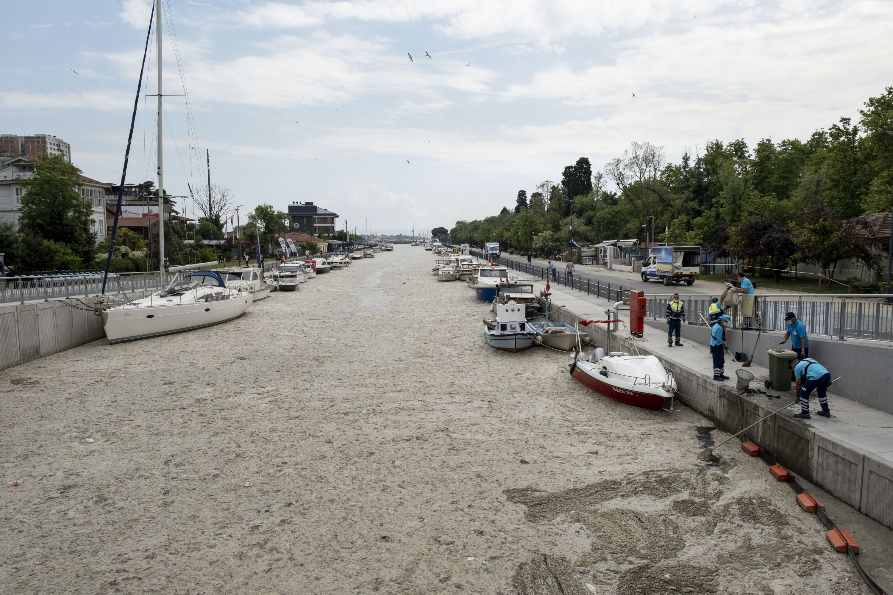 Mucilage covers the surface of the Marmara Sea, Kadıköy district, Istanbul, Turkey, June 7, 2021. (Photo by Getty Images)
