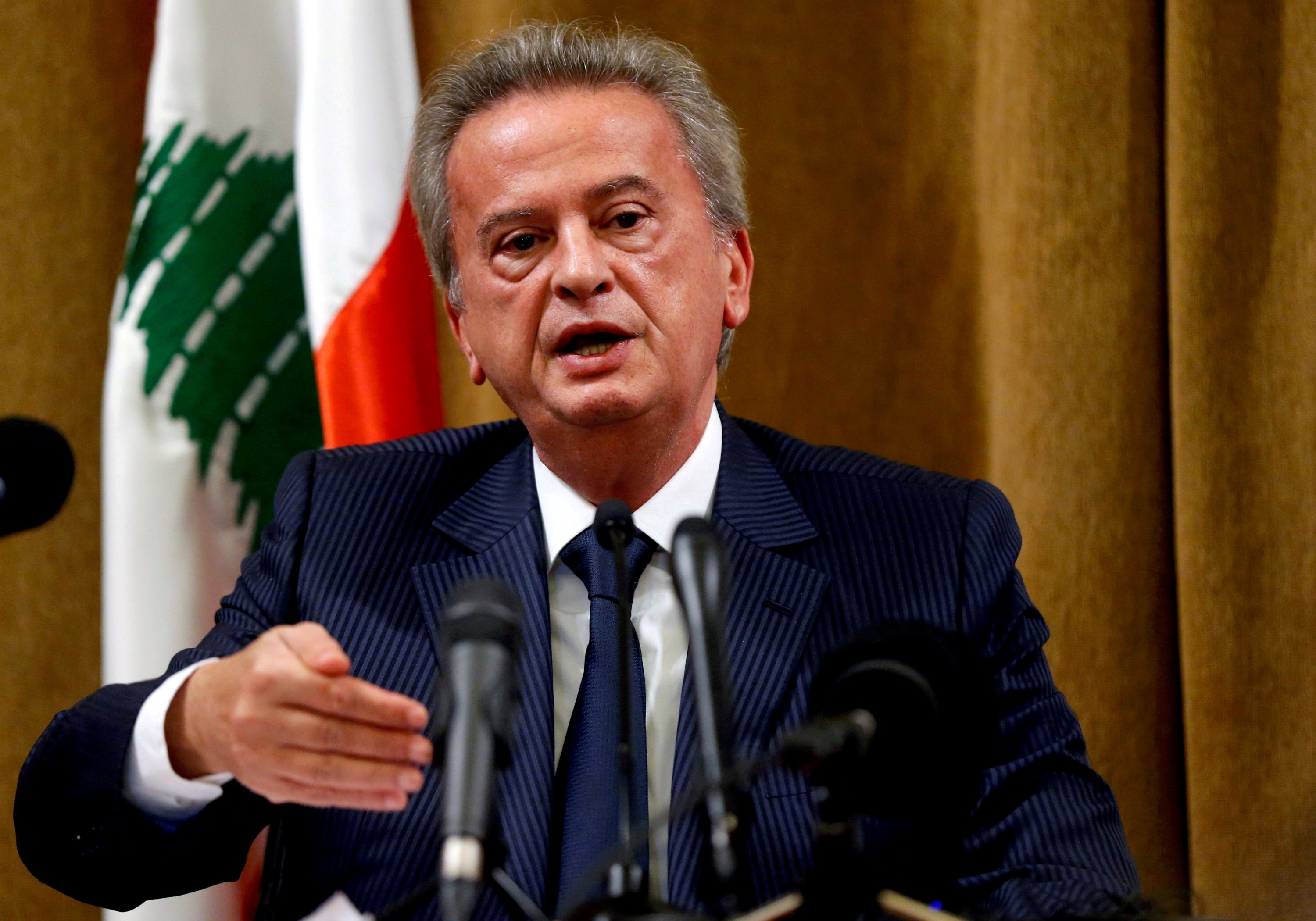 Lebanon's Central Bank Governor Riad Salameh speaks during a news conference at Central Bank in Beirut, Lebanon, Nov. 11, 2019. (Reuters Photo)