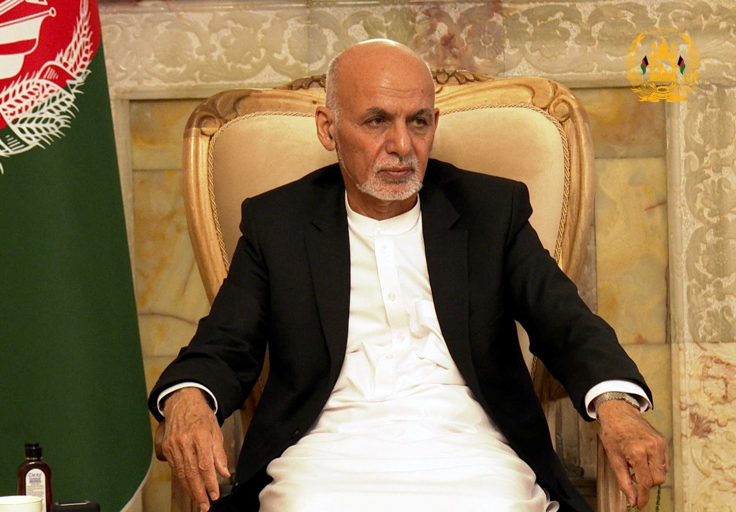 Afghanistan's President Ashraf Ghani attends a security meeting in Kabul, Afghanistan, August 14, 2021. (Reuters Photo)