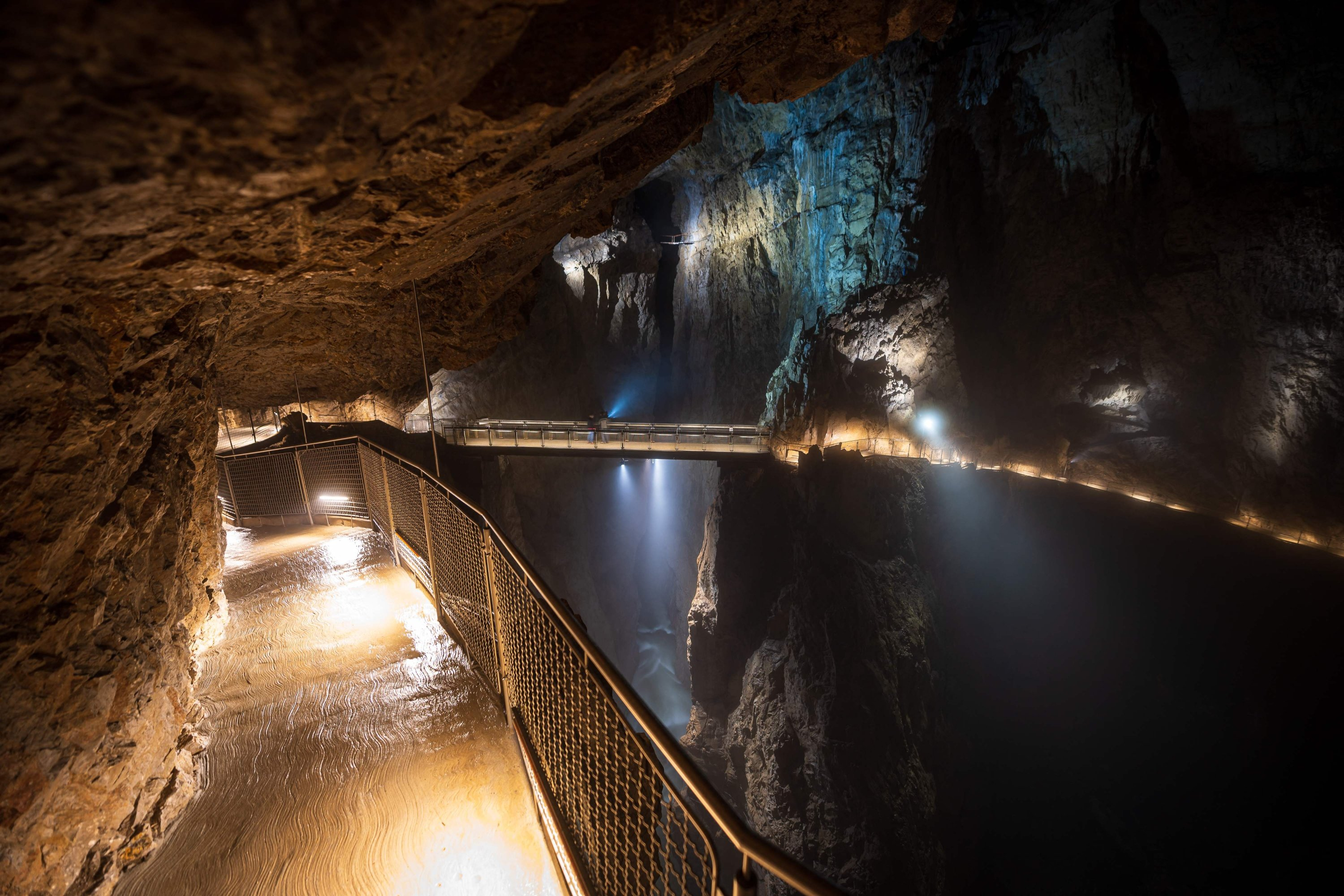 A path and a bridge can be seen in a part of the Skocjan Caves near the town of Divaca, Slovenia, May 25, 2021. (AFP Photo)