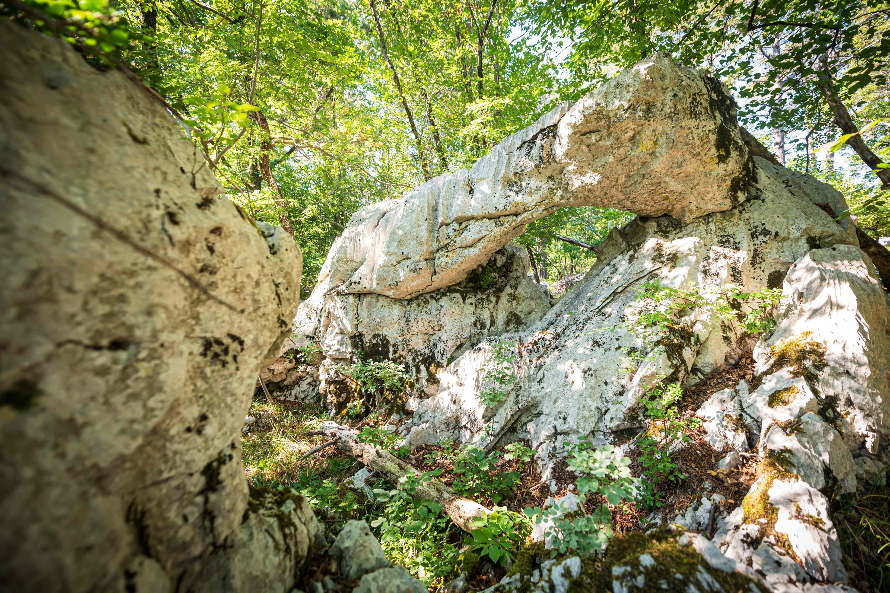 Rock formations and typical structures of the Karst landscape can be seen near Sezana, Slovenia, Aug. 7, 2021. (AFP Photo)