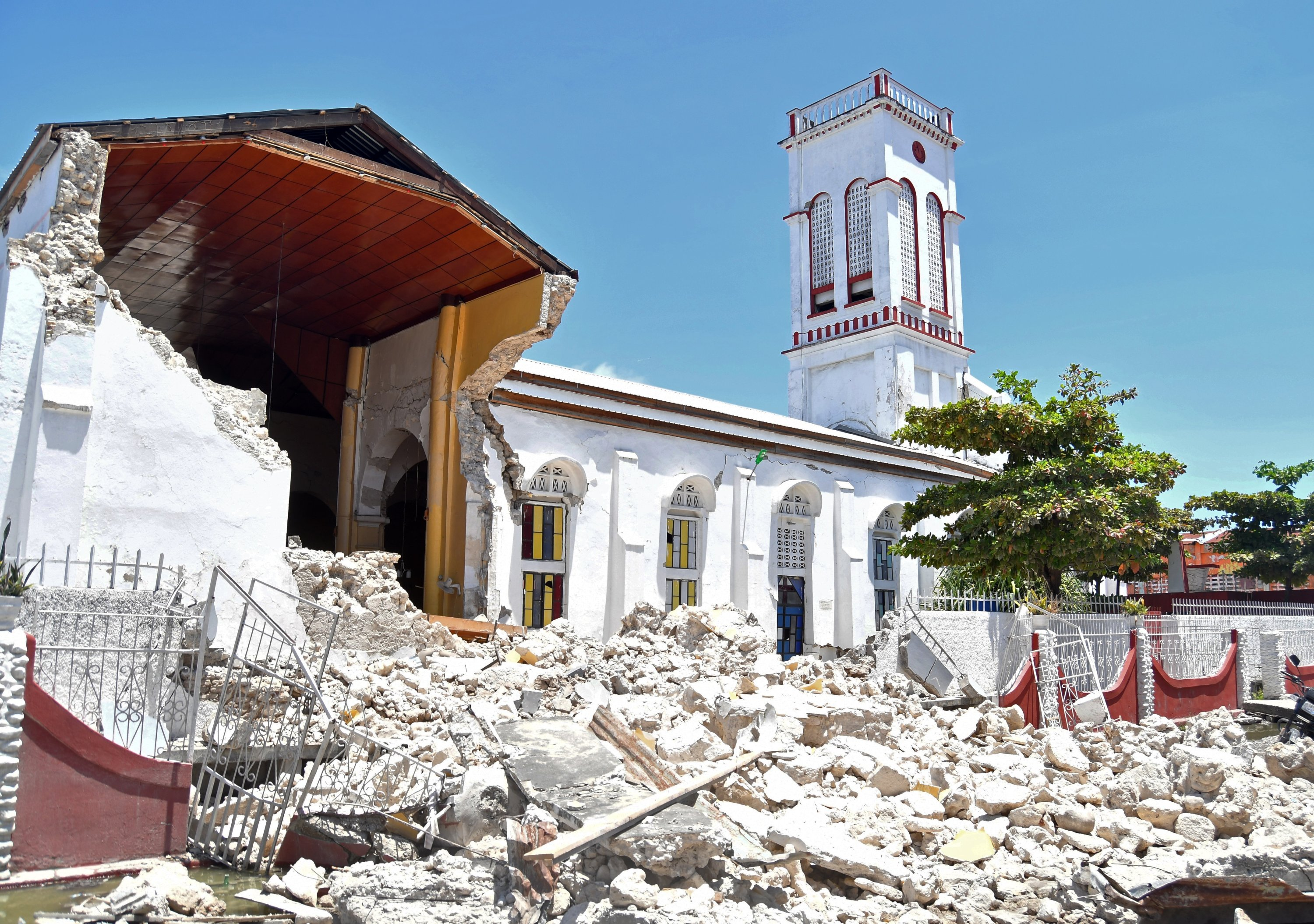 A view of the damage to buildings made by an earthquake, in Port-au-Prince, Haiti, Aug. 14, 2021. (EPA Photo)