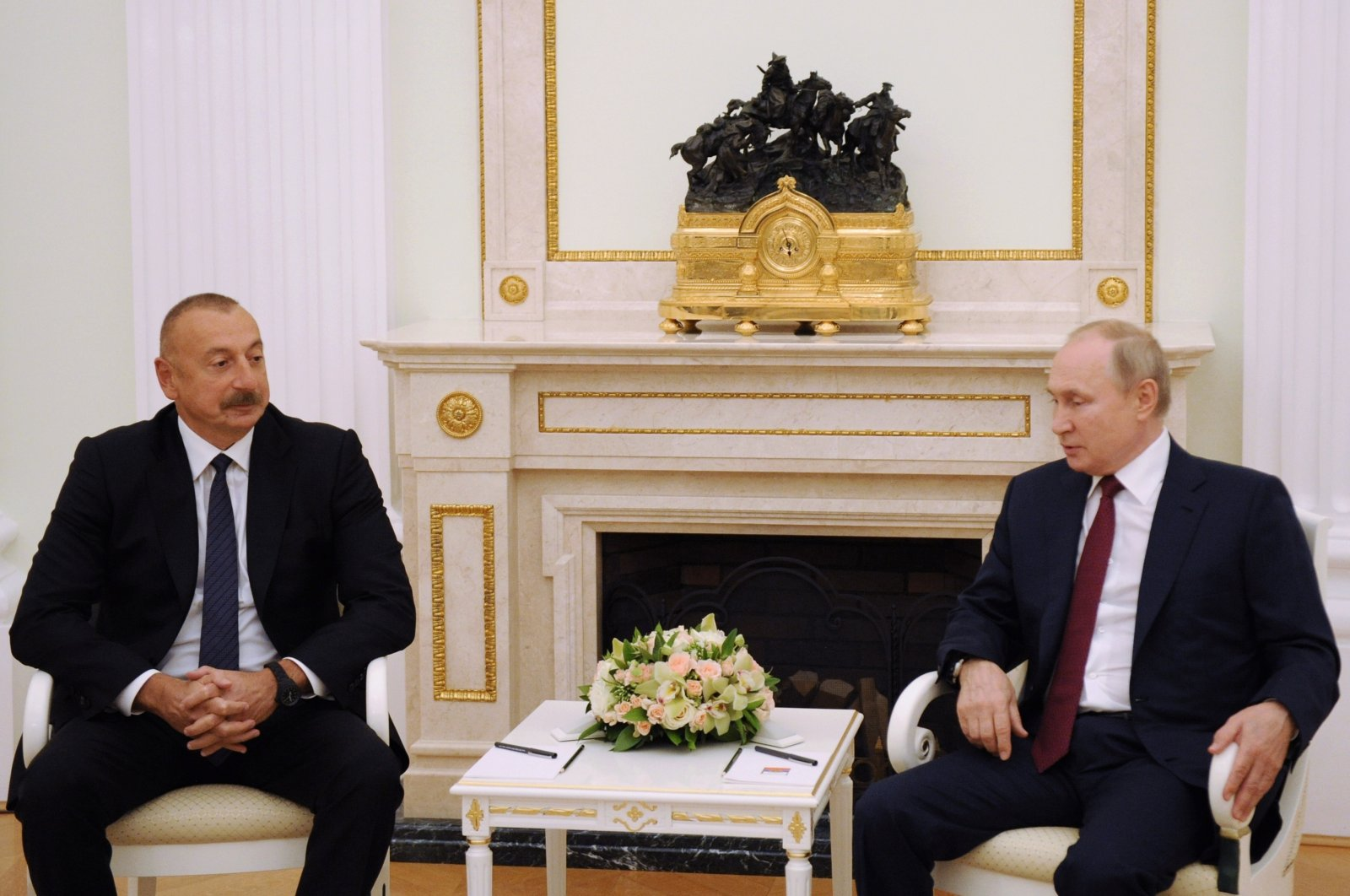Russian President Vladimir Putin (R) and Azerbaijani President Ilham Aliyev during a meeting at the Kremlin, Moscow, Russia, July 20, 2021. (AP Photo)