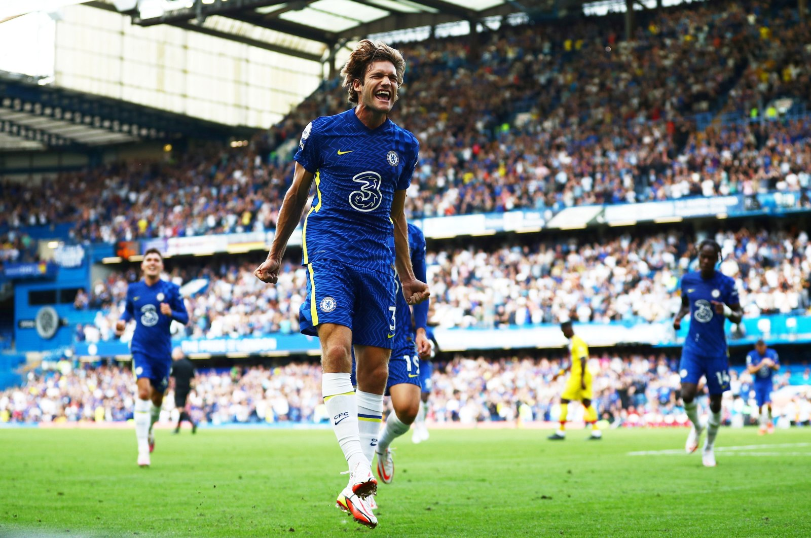 Chelsea's Marcos Alonso celebrates scoring his side's first goal in a Premier League match against Crystal Palace, Stamford Bridge, London, England, Aug. 14, 2021.