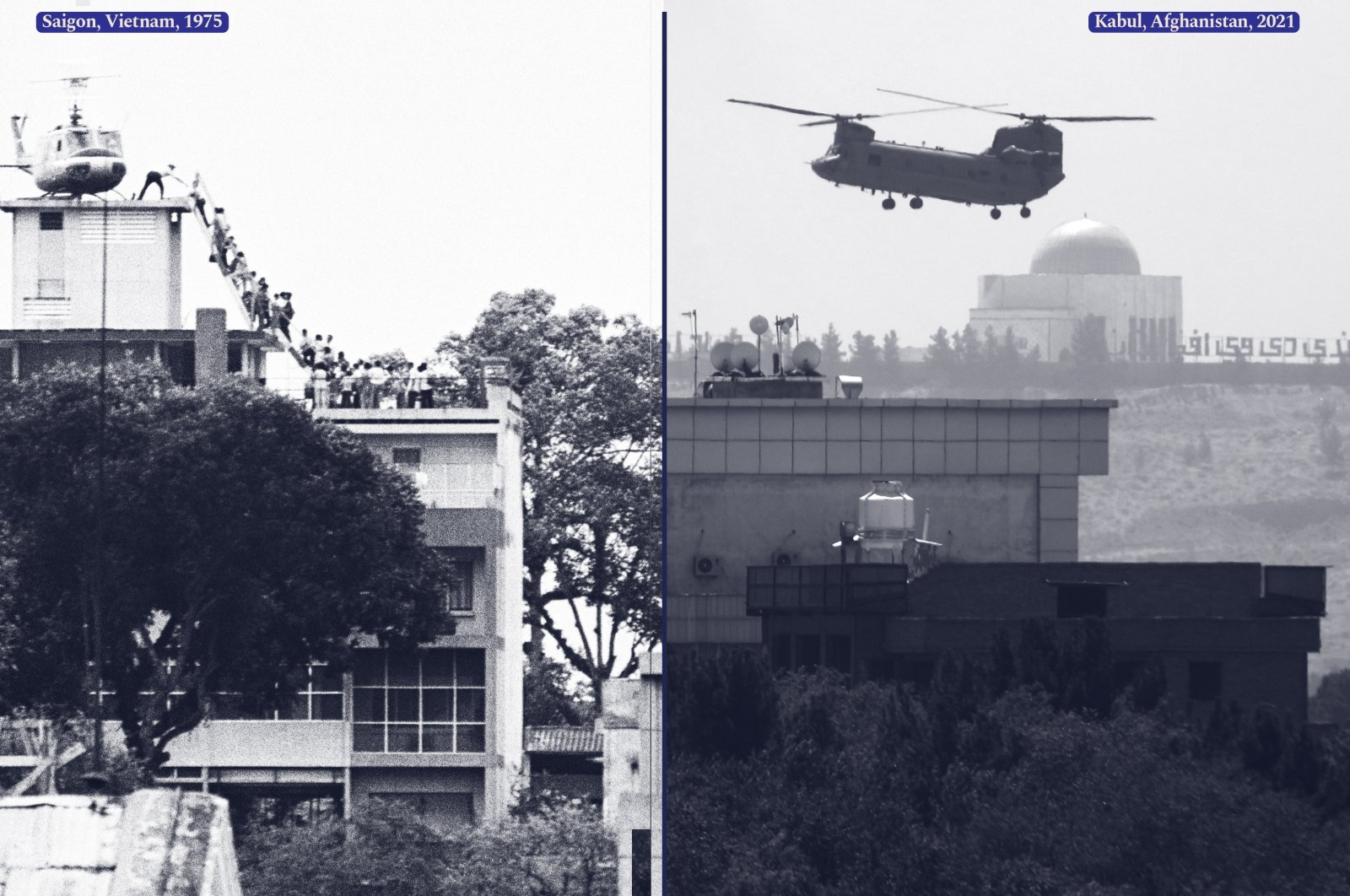 A combination picture of a CIA employee (most likely O.B. Harnage) helping Vietnamese evacuees onto an Air America helicopter from the top of 22 Gia Long Street, a half mile from the U.S. Embassy, Saigon, Vietnam, April, 1975 (Getty Images) and a U.S. Chinook helicopter flying over the U.S. Embassy in Kabul, Afghanistan, Aug. 15, 2021. (AP Photo)
