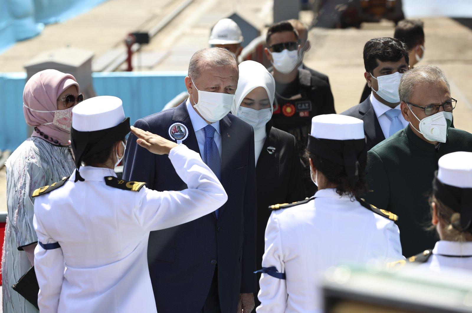 President Recep Tayyip Erdoğan speaking at a naval ceremony in Istanbul with Pakistan's President Arif Alvi, Turkey, Aug.15, 2021. (AA Photo)