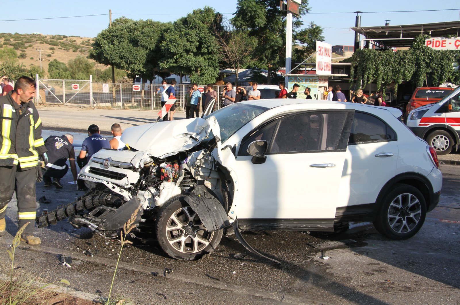 Wreckage of a car after an accident which injured five people, in Manisa, western Turkey, Aug. 14, 2021. (AA Photo)