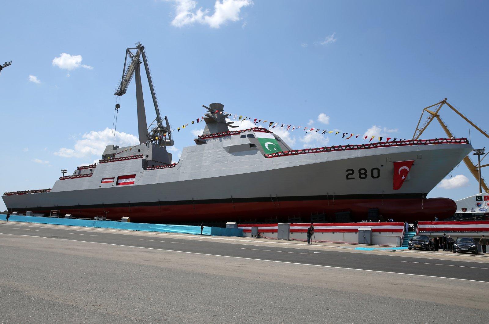 A MILGEM-class corvette built in Turkey for the Pakistan Navy docks in Istanbul, Turkey, Aug. 15, 2021. (AA Photo)