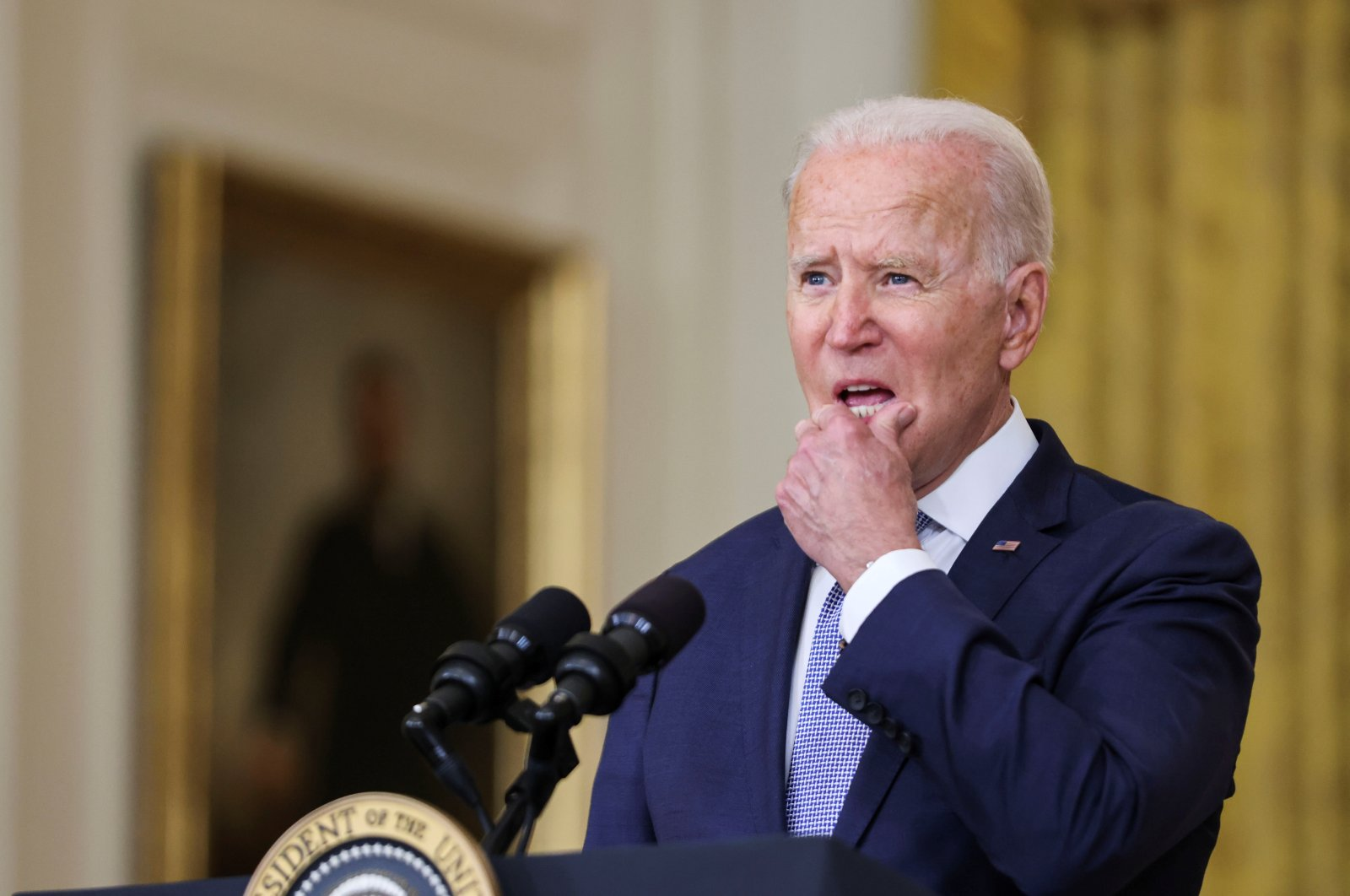 """U.S. President Joe Biden discusses his 'Build Back Better' agenda and administration efforts to """"lower prescription drug prices,"""" in the East Room at the White House in Washington D.C., U.S., Aug. 12, 2021. (Reuters Photo)"""