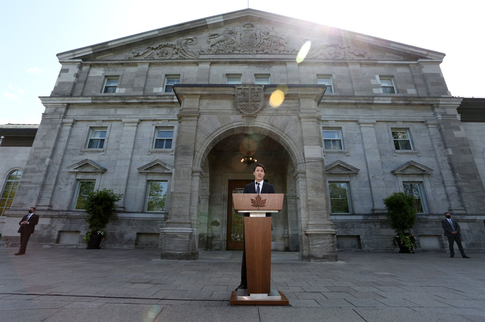 Canada's Prime Minister Justin Trudeau speaks during a news conference at Rideau Hall after asking Governor General Mary Simon to dissolve Parliament, Aug. 15, 2021, in Ottawa, Canada. (AFP Photo)