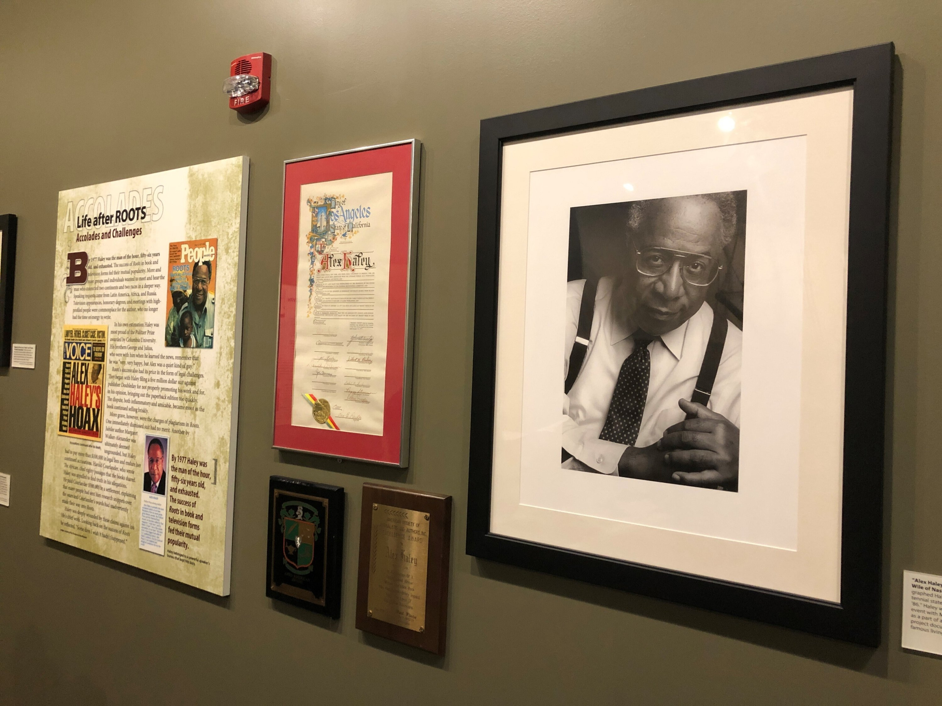 A photo of late author Alex Haley hangs on the wall of the Alex Haley Museum and Interpretive Center in Henning, Tennessee, U.S., Aug. 13, 2021. (AP Photo)