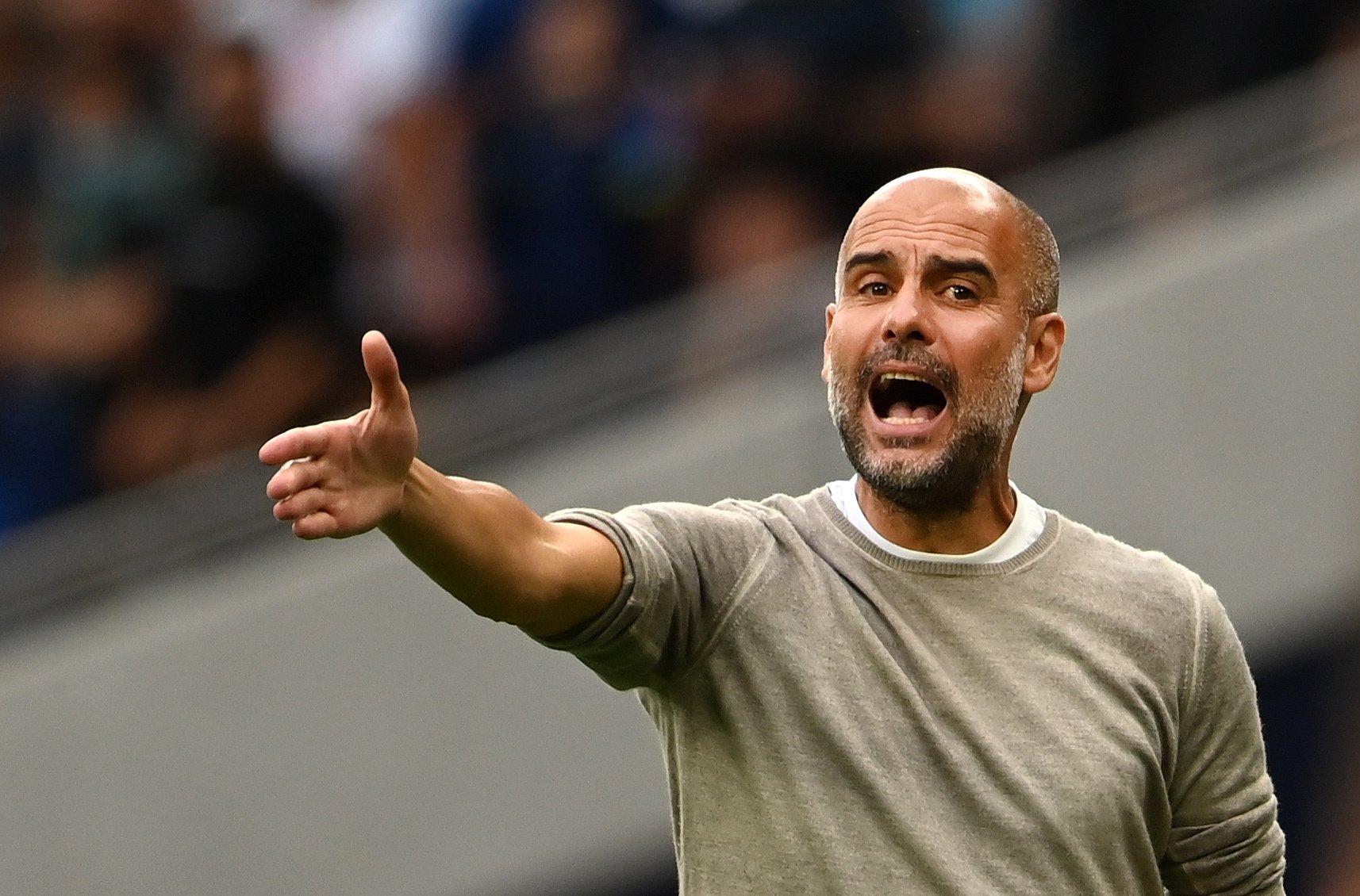 Man City manager Pep Guardiola reacts during his team's 0-1 loss to Tottenham at the Tottenham Hotspur Stadium, London, Britain, Aug. 15, 2021. (EPA Photo)
