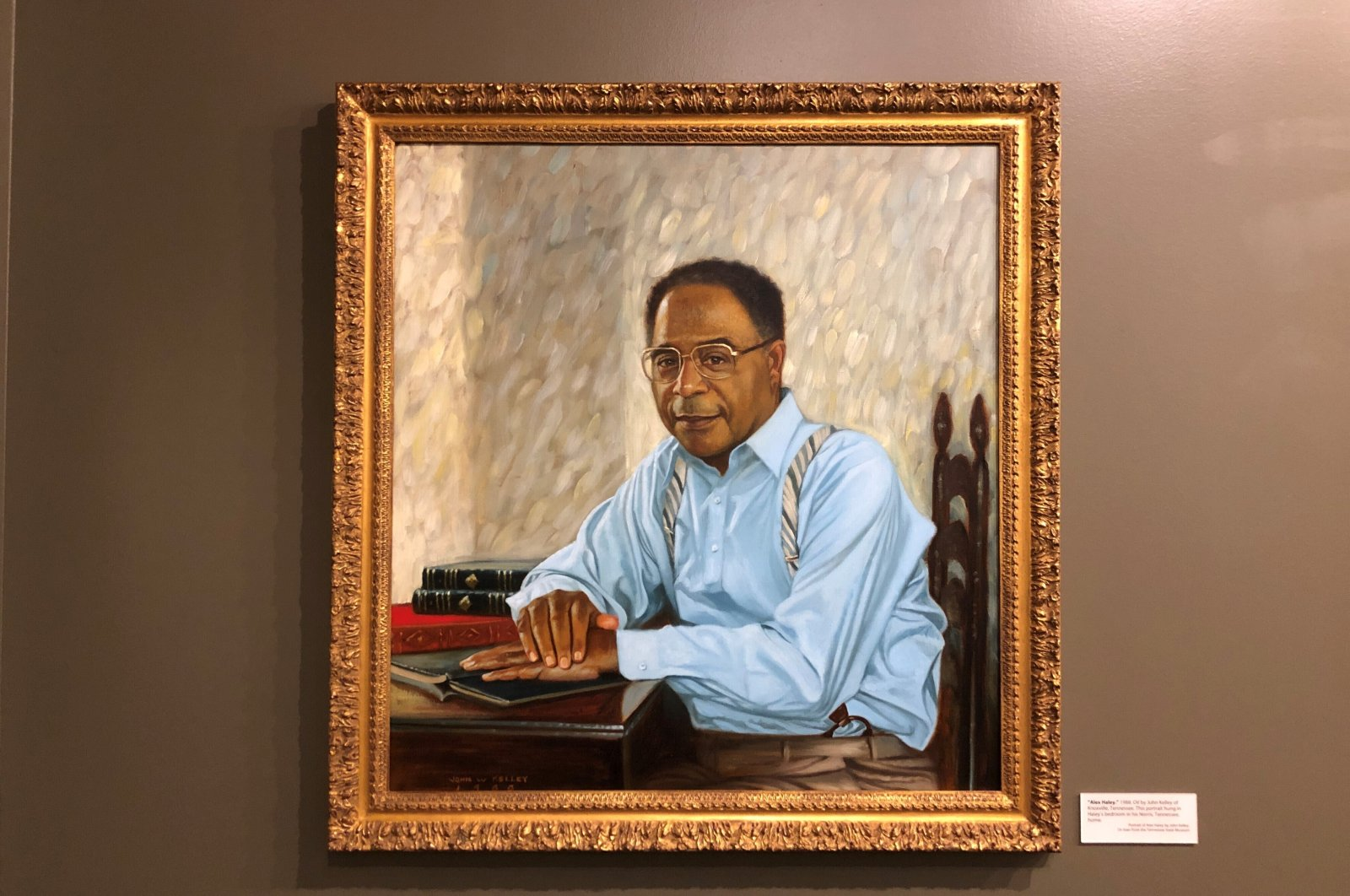 A portrait of late author Alex Haley hangs on the wall of the Alex Haley Museum and Interpretive Center, in Henning, Tennessee, U.S., Aug. 13, 2021. (AP Photo)