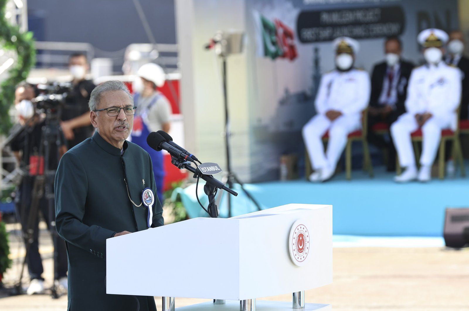 Pakistani President Arif Alvi speaks at the launching ceremony of MILGEM-class corvette ship, Turkey, Aug. 15, 2021. (AA Photo)
