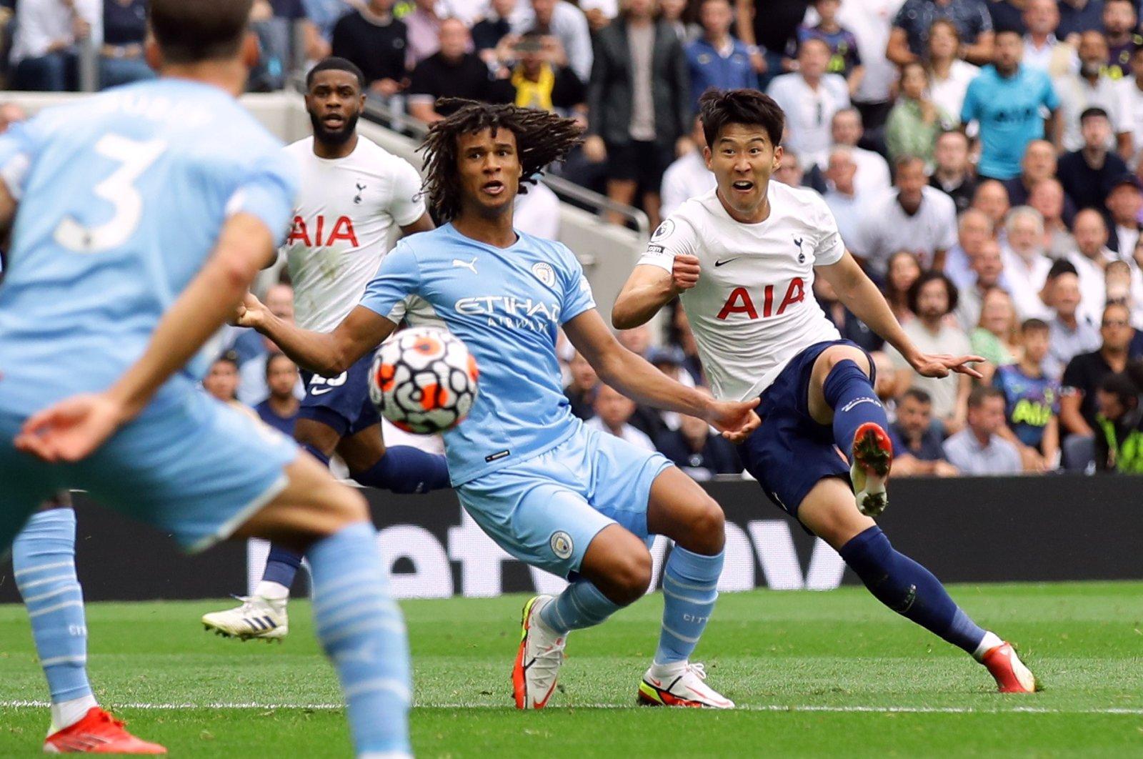 Tottenham Hotspur's Son Heung-min scores his side's only goal in a Premier League match against Manchester City, Tottenham Hotspur Stadium, London, Britain, Aug. 15, 2021.
