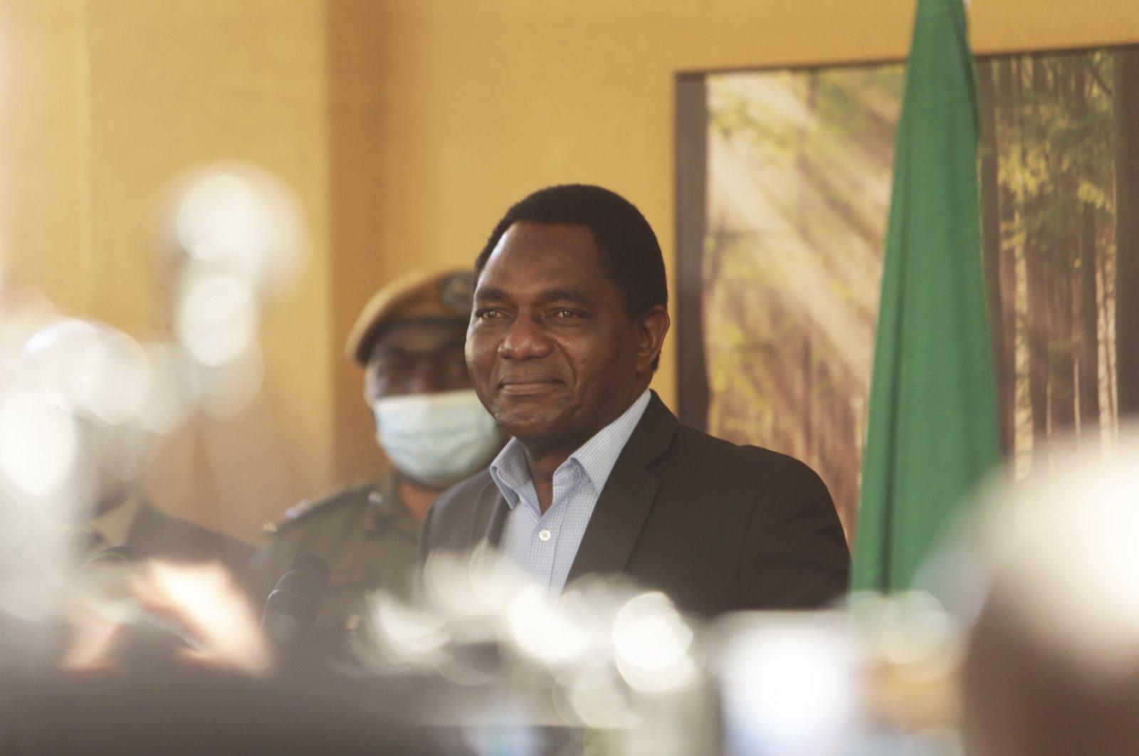 Zambian President-elect Hakainde Hichilema addresses a press conference at his residence in Lusaka, Zambia, Aug, 16, 2021. (AP Photo)