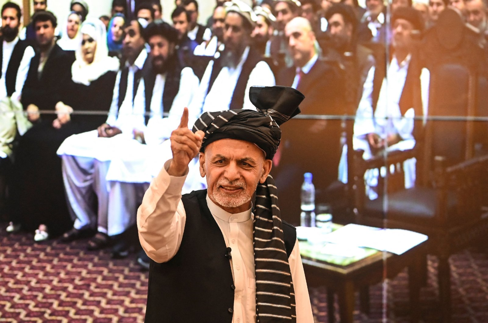 Afghanistan's President Ashraf Ghani gestures during a function at the Afghan presidential palace in Kabul, Afghanistan, Aug. 4, 2021. (AFP Photo)
