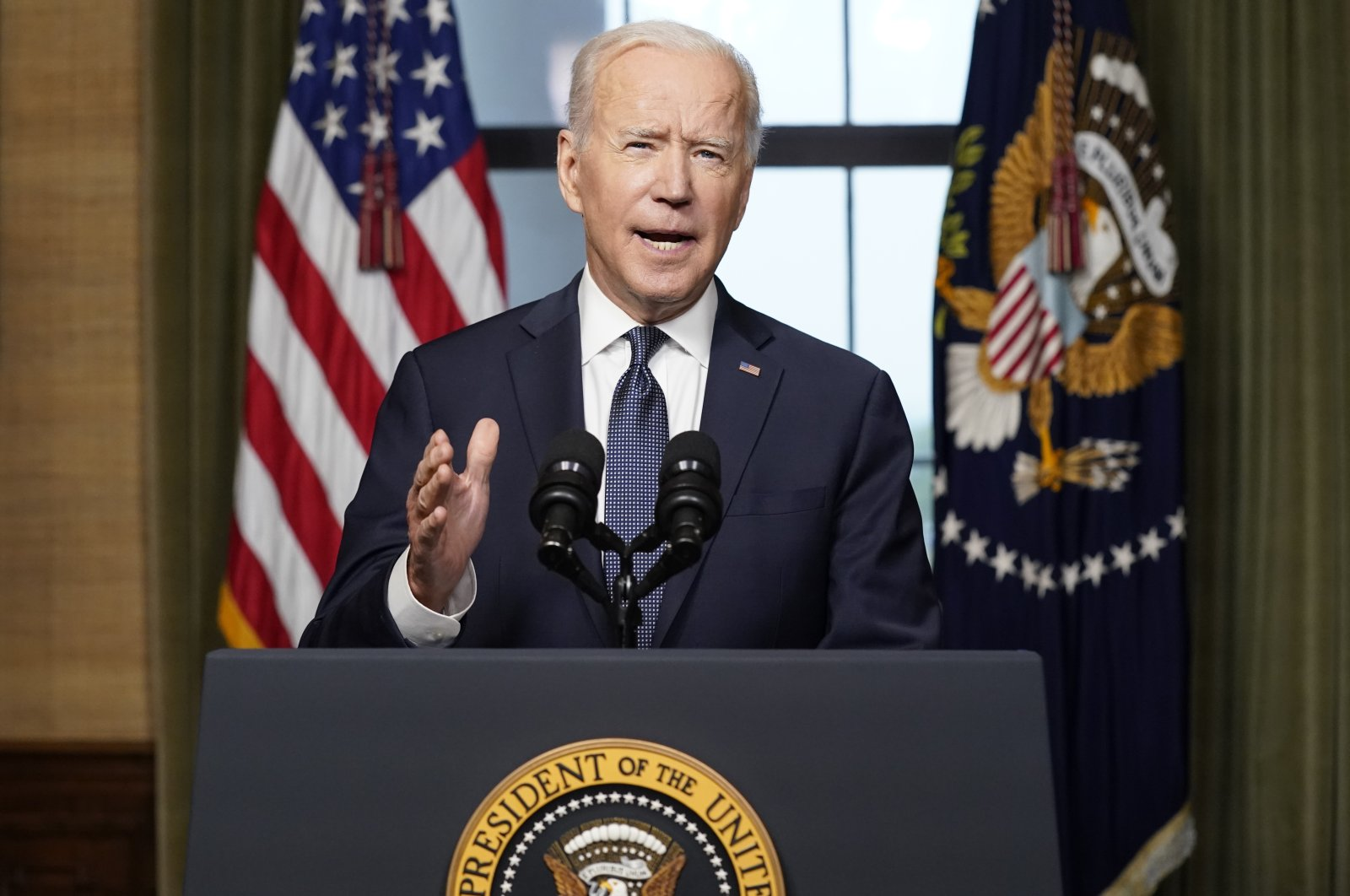 President Joe Biden speaks from the Treaty Room in the White House about the withdrawal of the remainder of U.S. troops from Afghanistan, in Washington, U.S., April 14, 2021. (AP Photo)