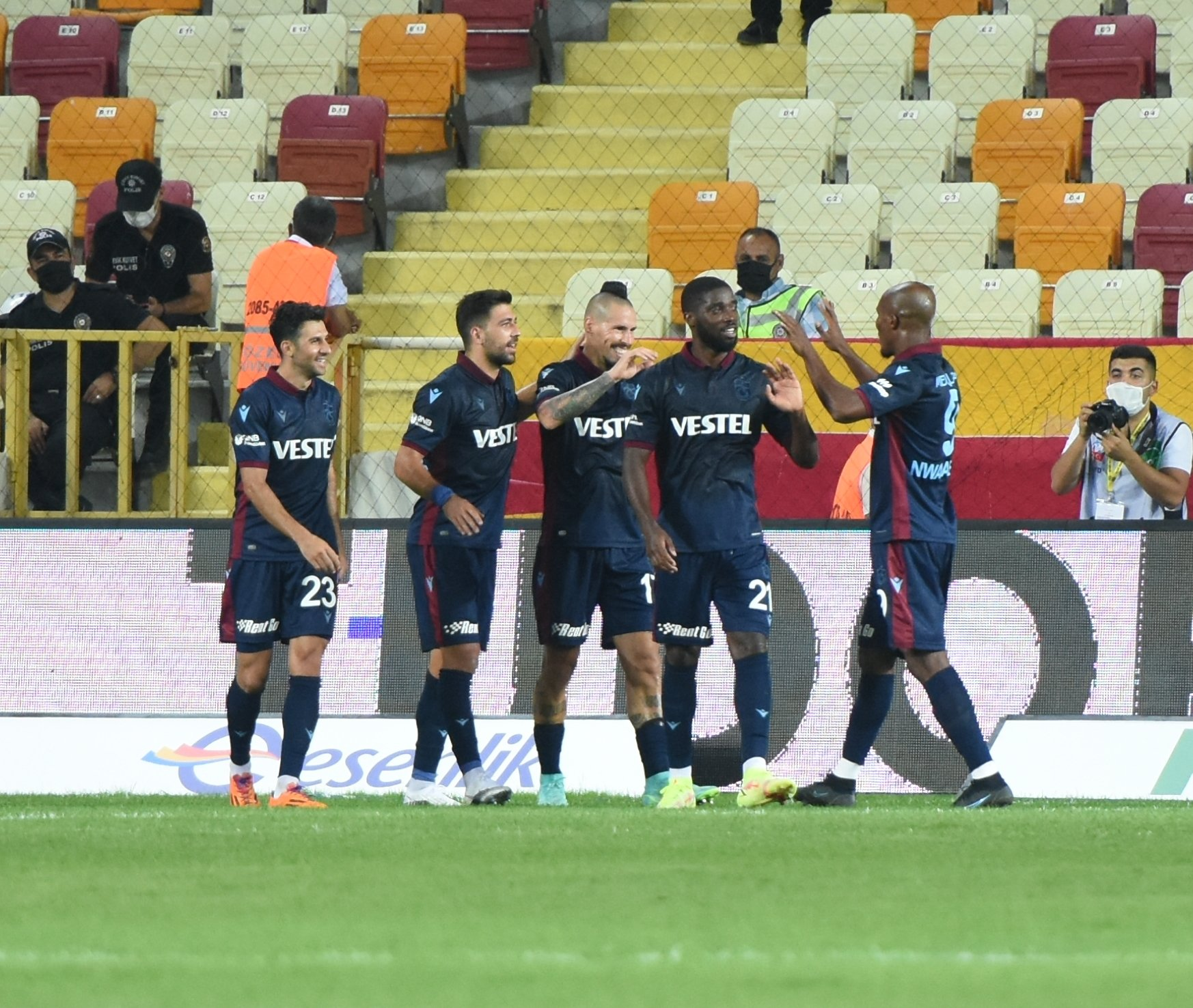 Trabzonspor players celebrate a goal in a Süper Lig match against Malatyaspor at the Yeni Malatya Stadium, Malatya, Turkey, Aug. 16, 2021.