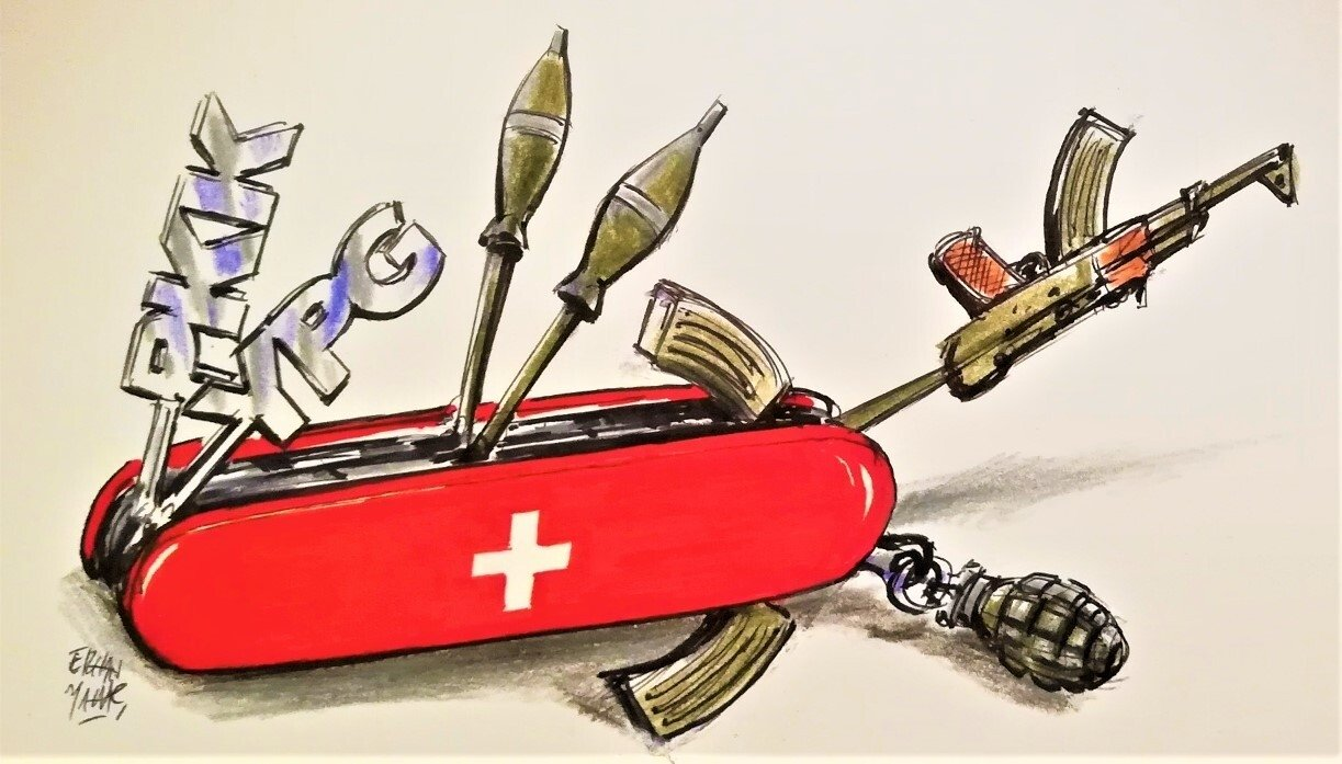 An illustration by Erhan Yalvaç of a Swiss Army knife with rifles, weapons and missiles to symbolize the recently launched YPG liaison office in Geneva, Switzerland.