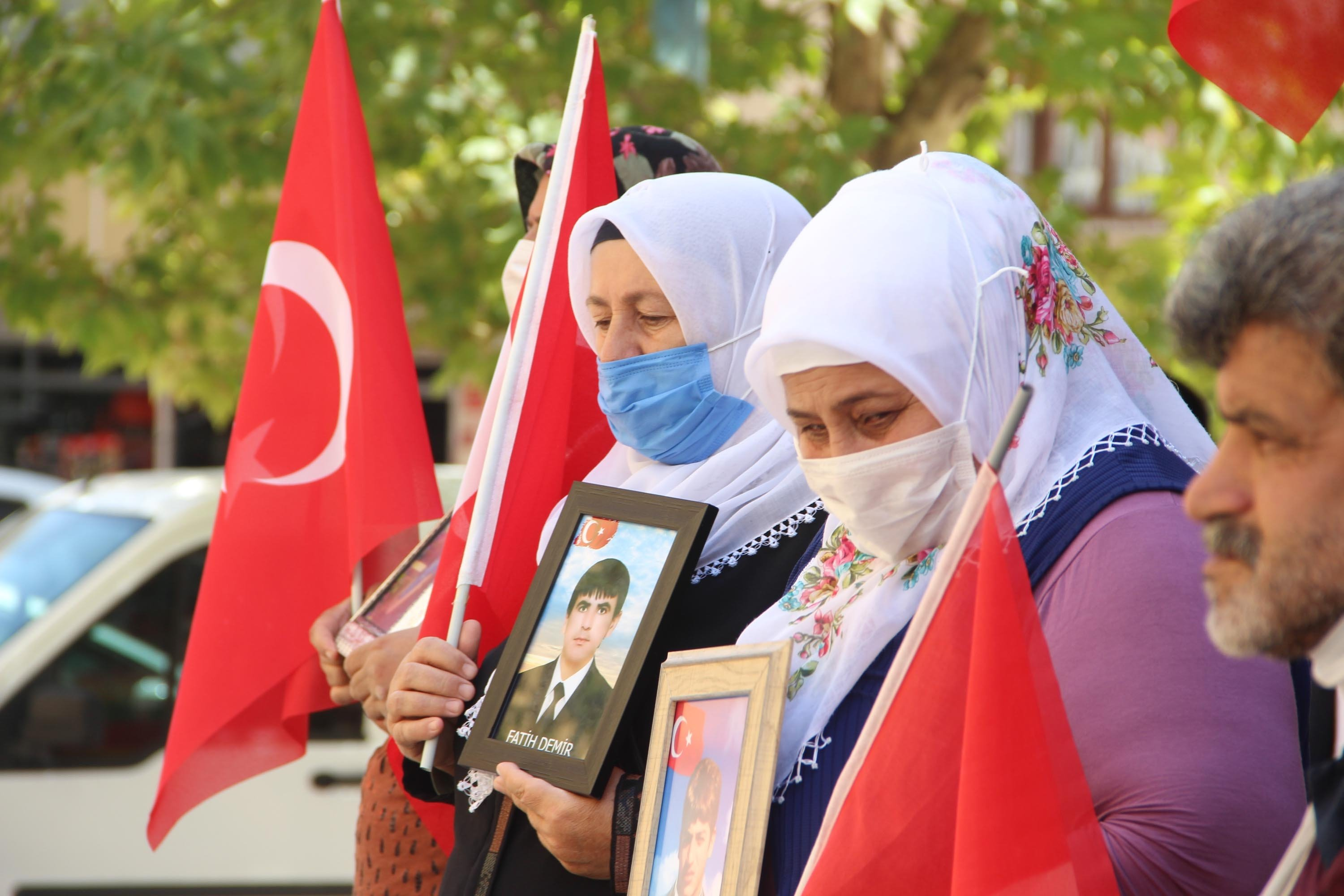 Family members of the 233 people who were kidnapped by the PKK terrorist group protest for 714 days straight in Diyarbakır, southeastern Turkey, Aug. 16, 2021. (DHA Photo)