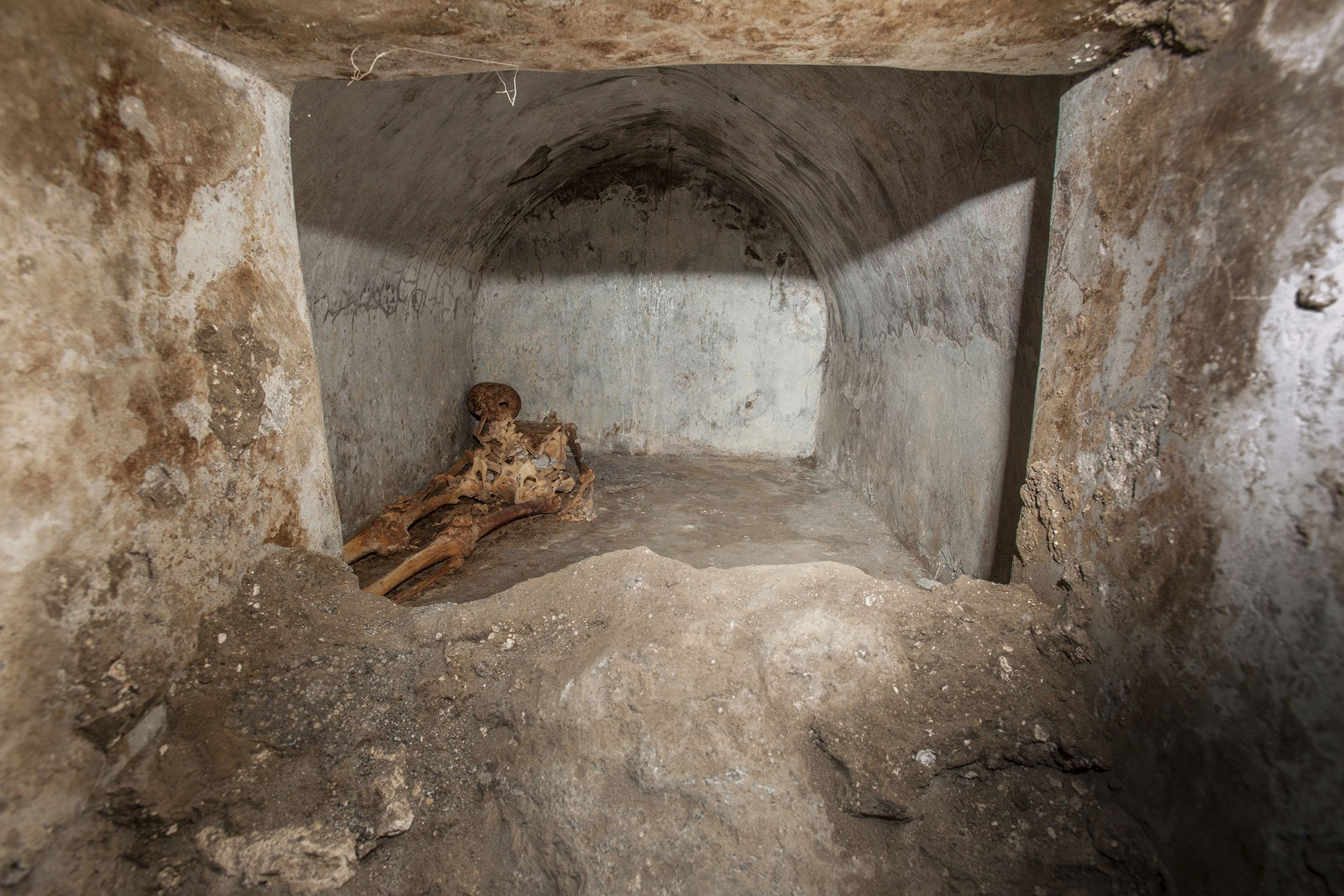 A view of the tomb located in the necropolis of Porta Sarno can be seenin an area not yet open to the public in the east of Pompeii's urban center, Pompeii, Italy. (Pompeii Archeological Park via AP)