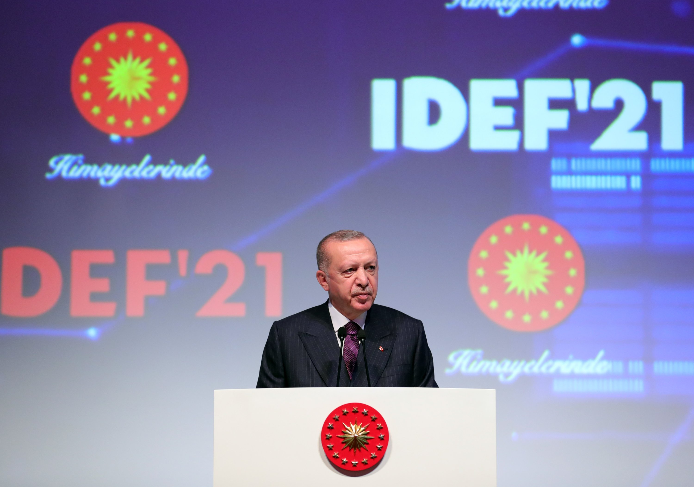 President Recep Tayyip Erdoğan speaks during the opening ceremony of the International Defense Industry Fair (IDEF 2021) in Istanbul, Turkey, Aug. 17, 2021.