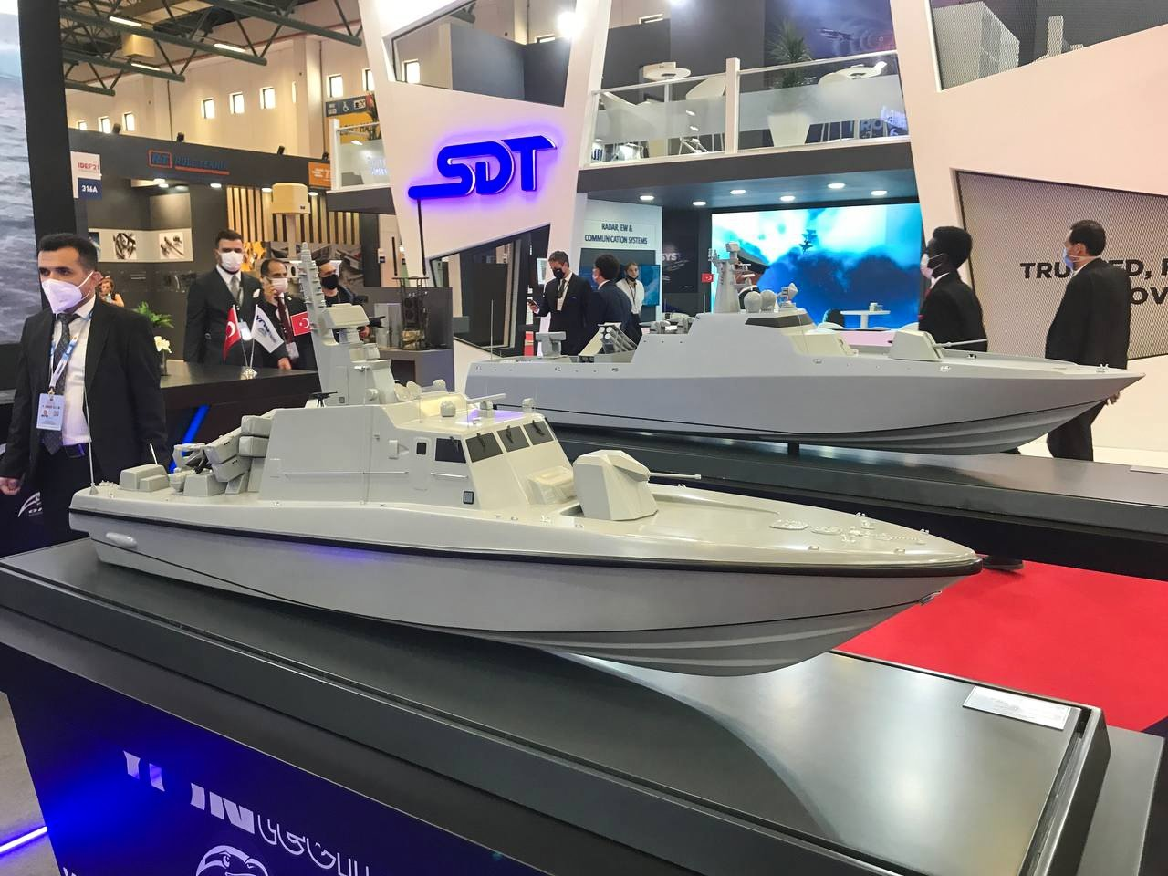 Naval platforms are on display during the International Defense Industry Fair (IDEF 2021) in Istanbul, Turkey, Aug. 17, 2021. (AA Photo)