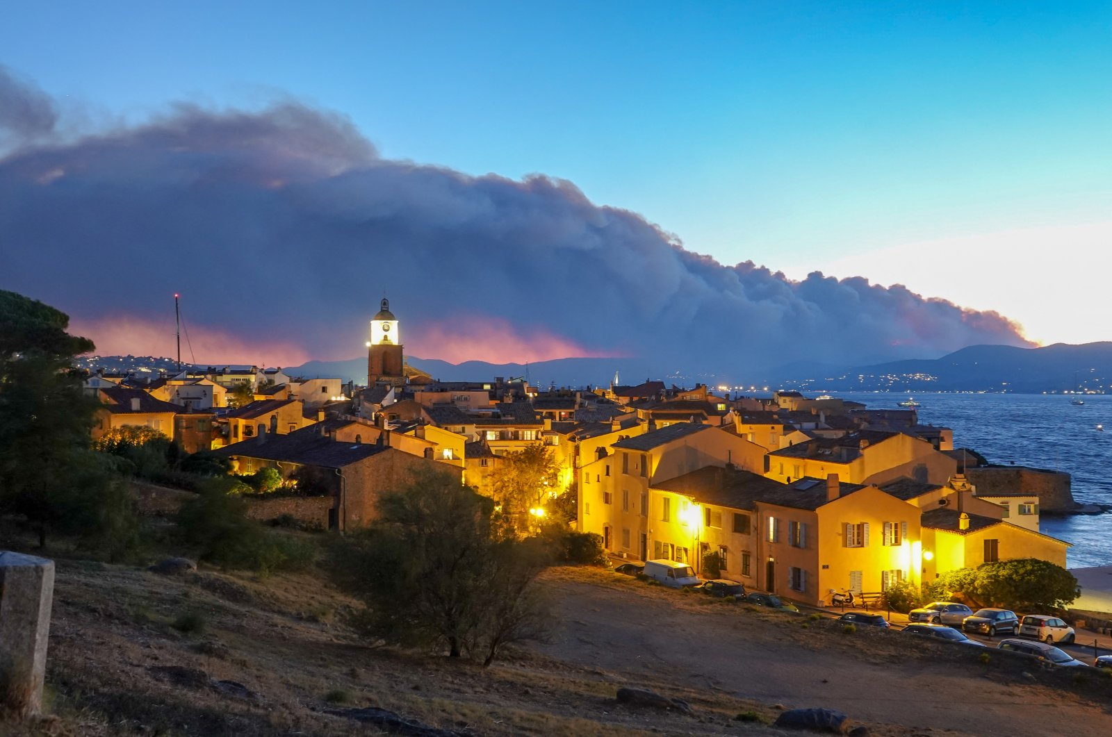 Smoke rises from a massive wildfire in Gonfaron, seen from the heights of Saint Tropez, south of France , Aug. 16, 2021. (Reuters Photo)