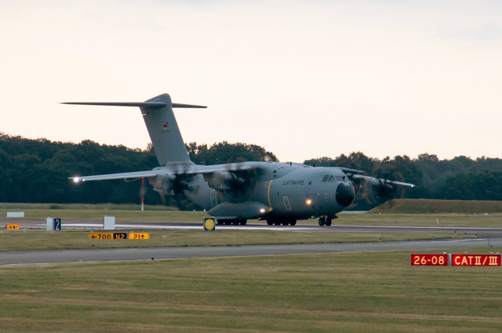 In this handout photo, an Airbus A400 transport aircraft of the German Air Force takes off on a runway at the Wunstorf Air Base near Hanover, northern Germany, Aug. 16, 2021. (Bundeswehr via AFP)