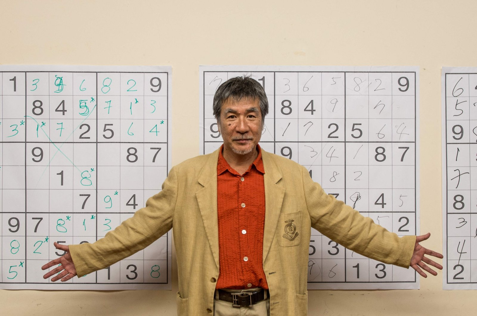 Japanese puzzle manufacturer Maki Kaji poses for a picture during the first Sudoku national competition in Sao Paulo, Brazil, Sept. 29, 2012. (AFP Photo)