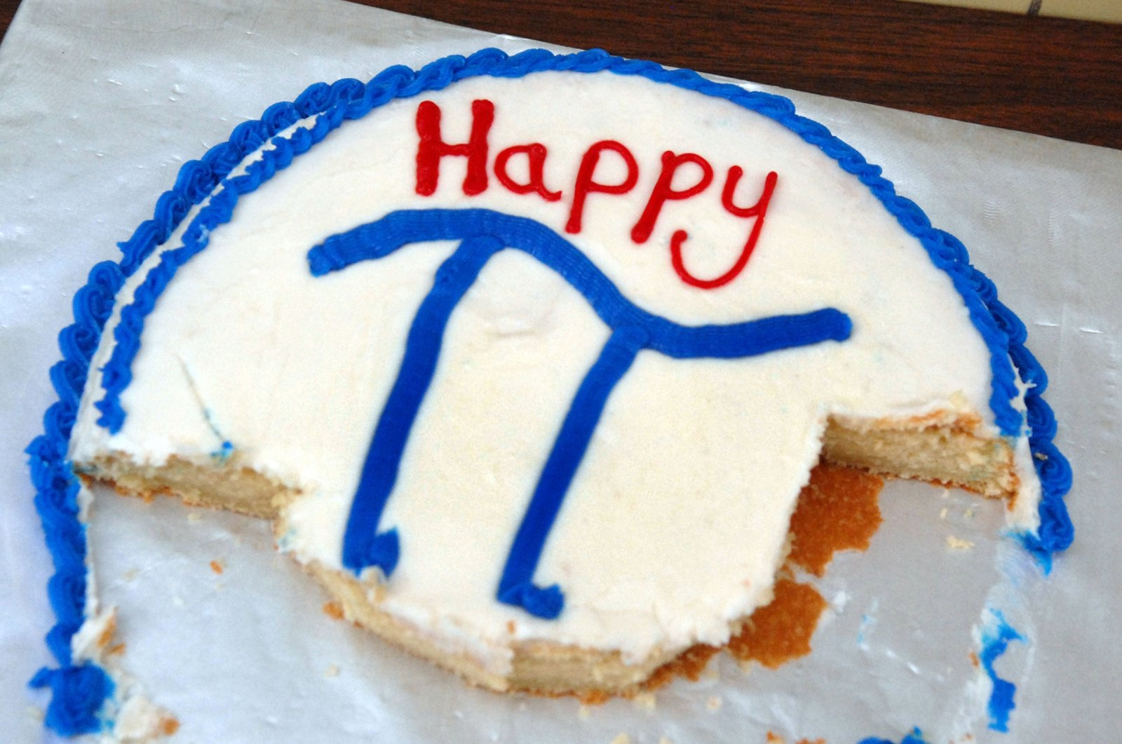 The symbol of the mathematical constant pi can be seen on the remnants of a cake. (Gettty Images)