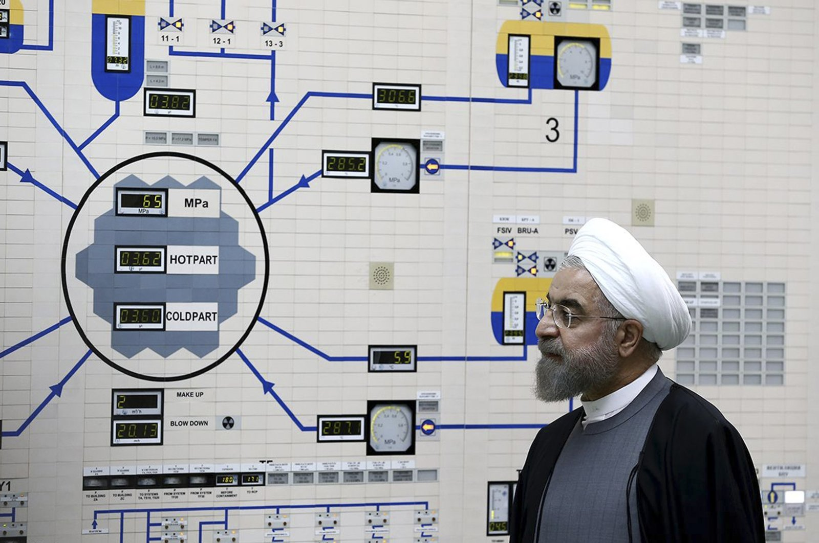 President Hassan Rouhani visits the Bushehr nuclear power plant just outside of Bushehr, Iran, Jan. 13, 2015. (Iranian President's Office via AP Photo)