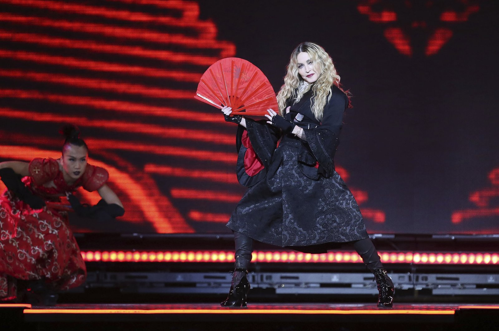 Madonna performs on stage as part of her Rebel Heart Tour, in London, U.K., Dec. 1, 2015. (AP Photo)