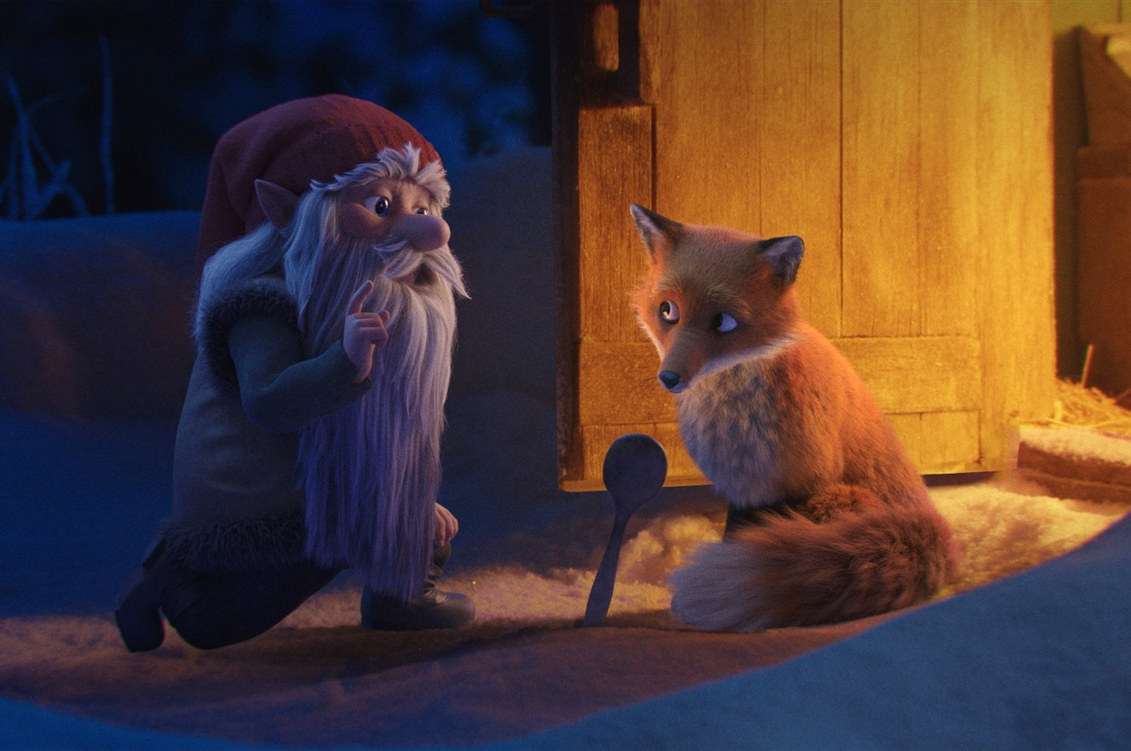 """A still shot from the animated short film """"The Tomten and the Fox."""""""