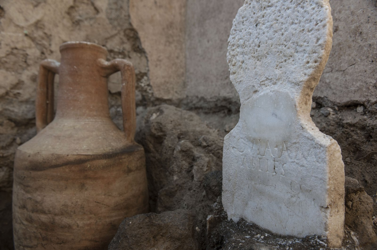 Some of the findings in the necropolis of Porta Sarno can be seenin an area not yet open to the public in the east of Pompeii's urban center, Pompeii, Italy. (Pompeii Archeological Park via AP)